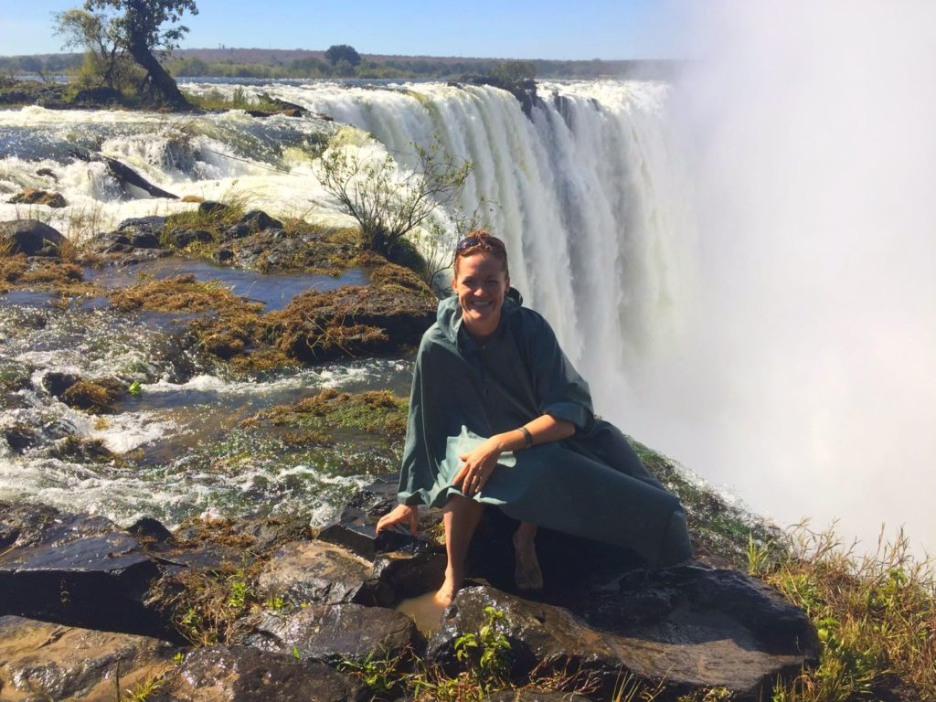 Kim at Victoria Falls