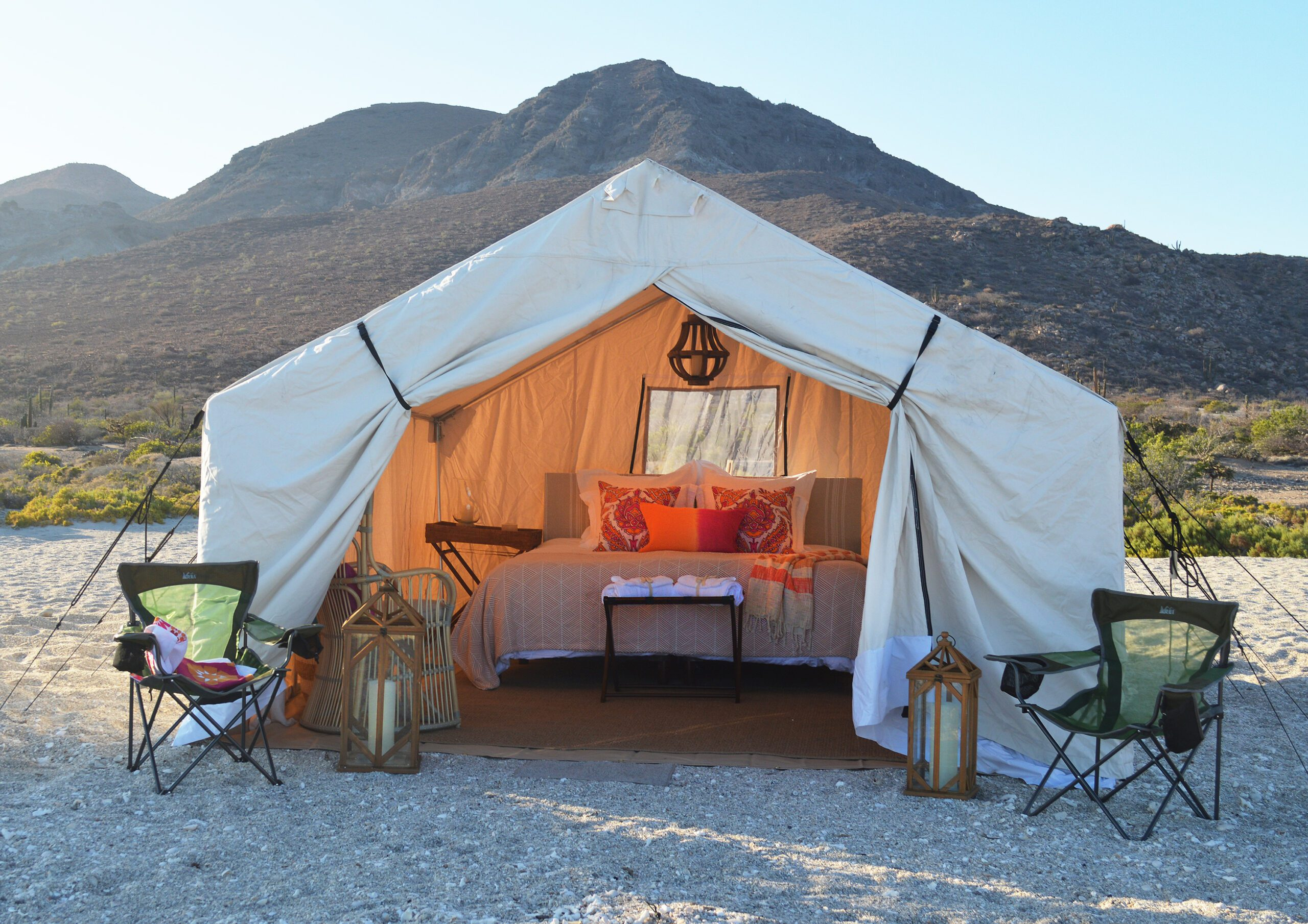 mexico safari style luxury tent on beach