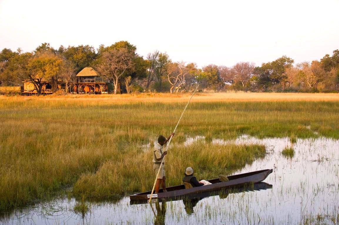 mokoro safari through the channels outside xudum camp