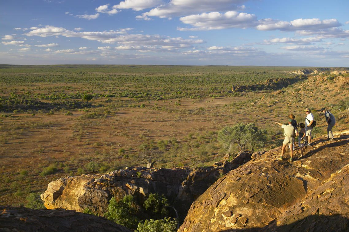 Safari goers and their guide stop to admire the view on a walking safari in Mashatu Game Reserve