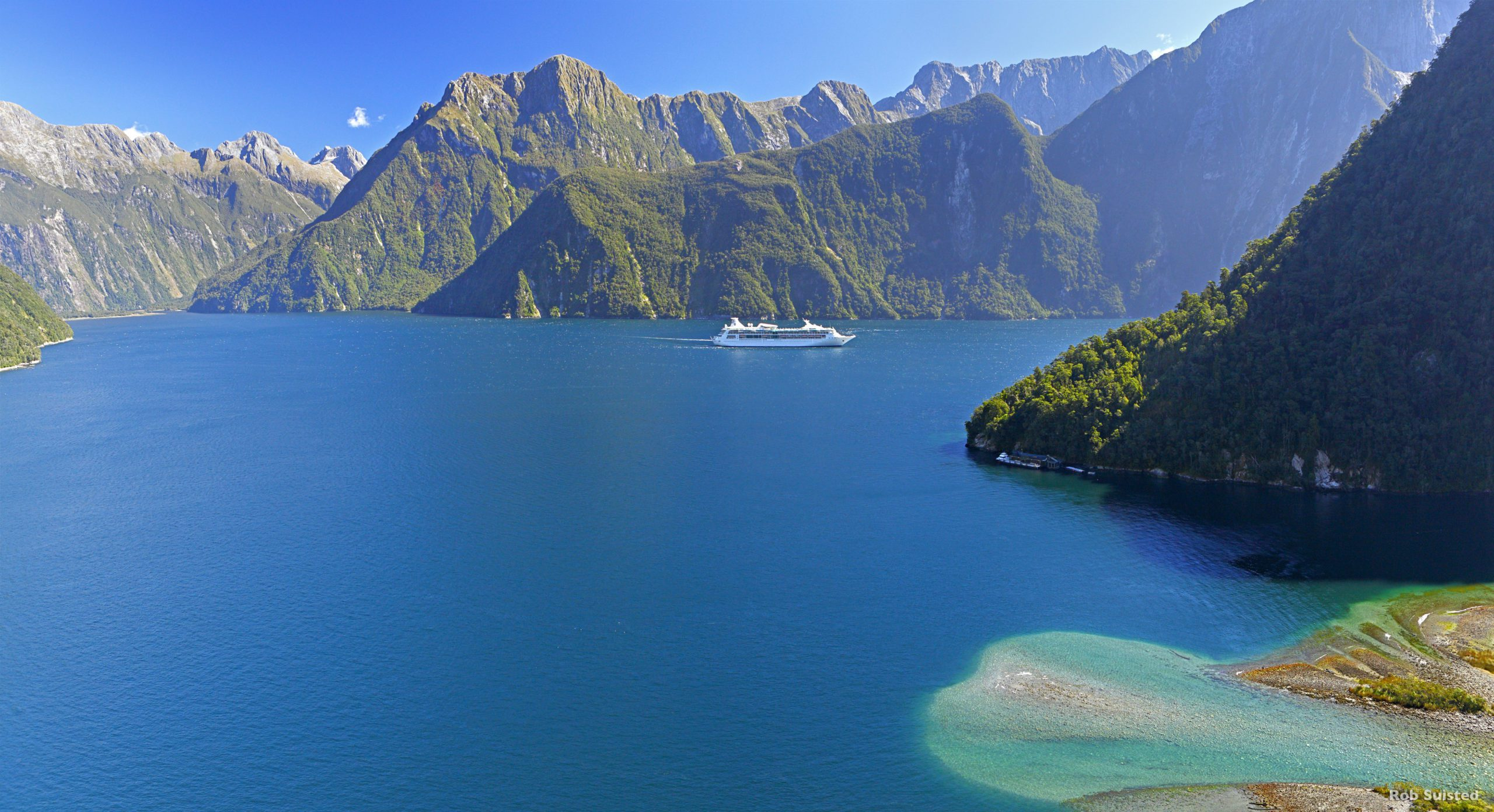 A cruise boat in the Milford Sound