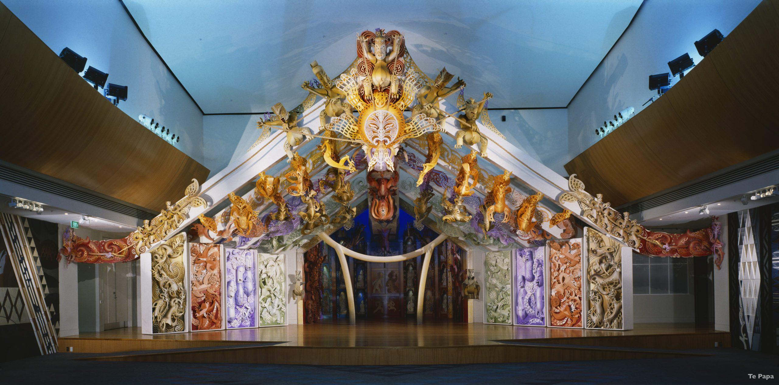 An ornate Marae inside the Te Papa Museum in Wellington