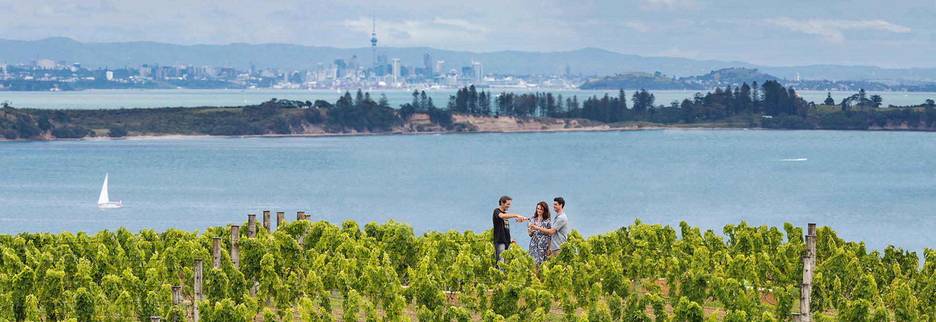A couple enjoys a wine tasting in a vineyard on Waiheke Islands with views of Auckland in the background