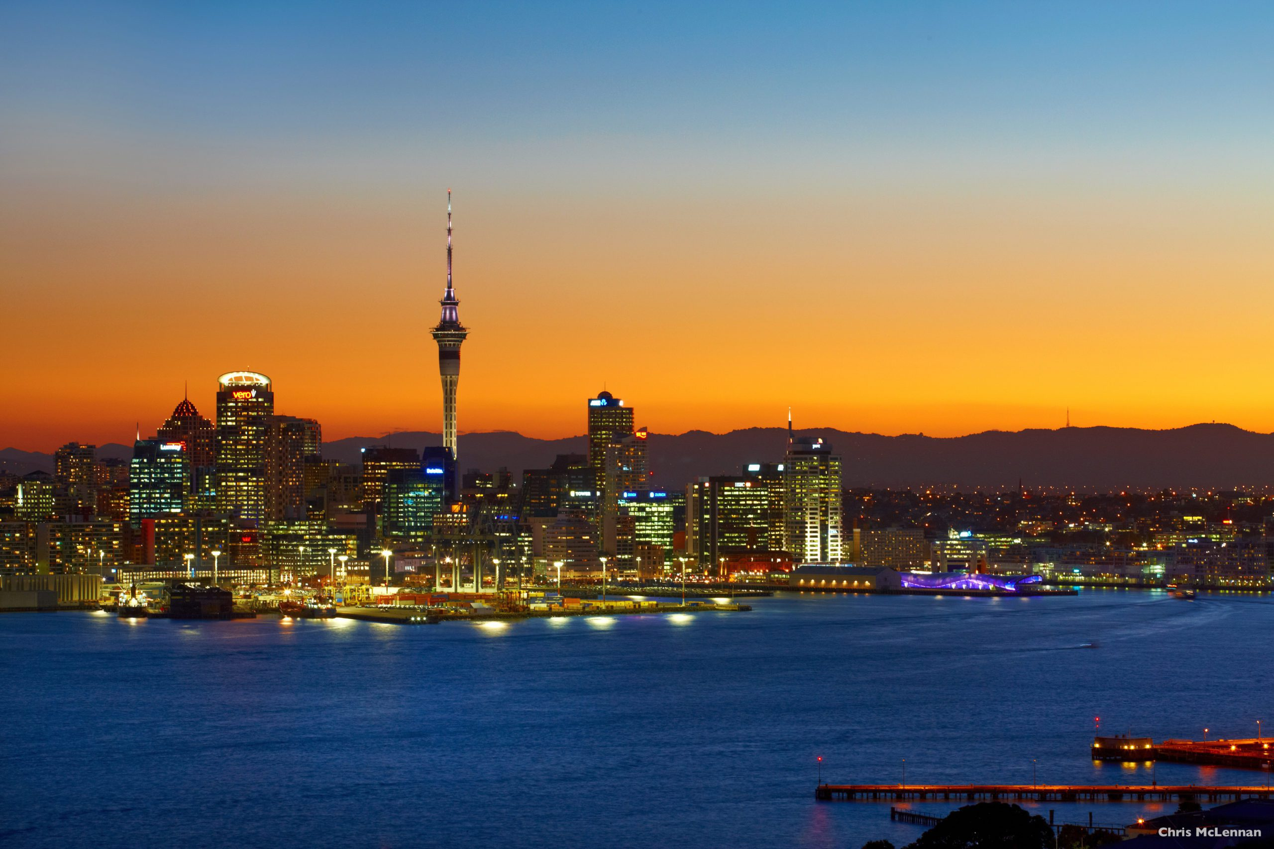 Auckland nightime city view on New Zealand road trip