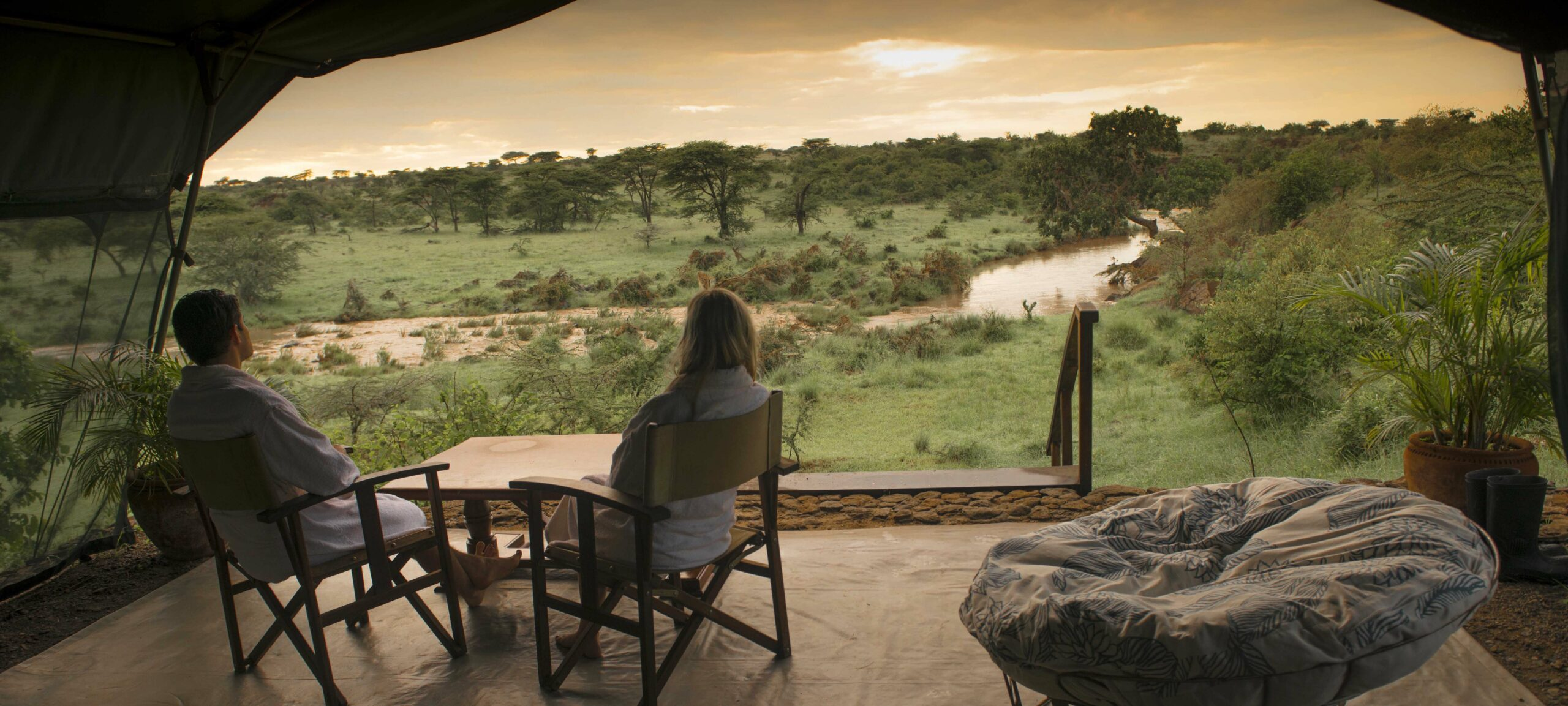 view from the honeymoon suite at Richard's RIver Camp at sundown on a luxury kenya safari