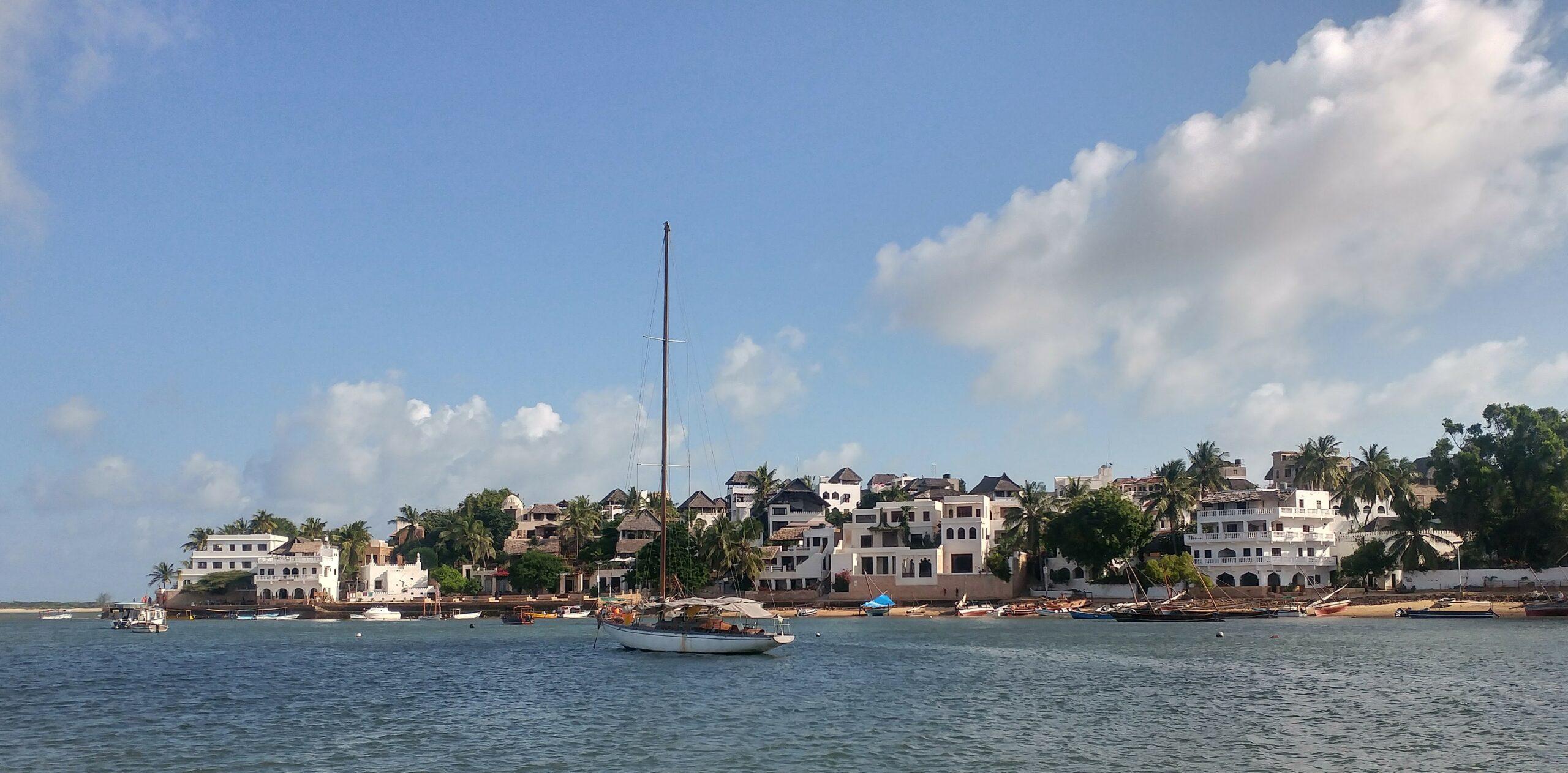 sailboat along the coast of Lamu on Kenya's coast