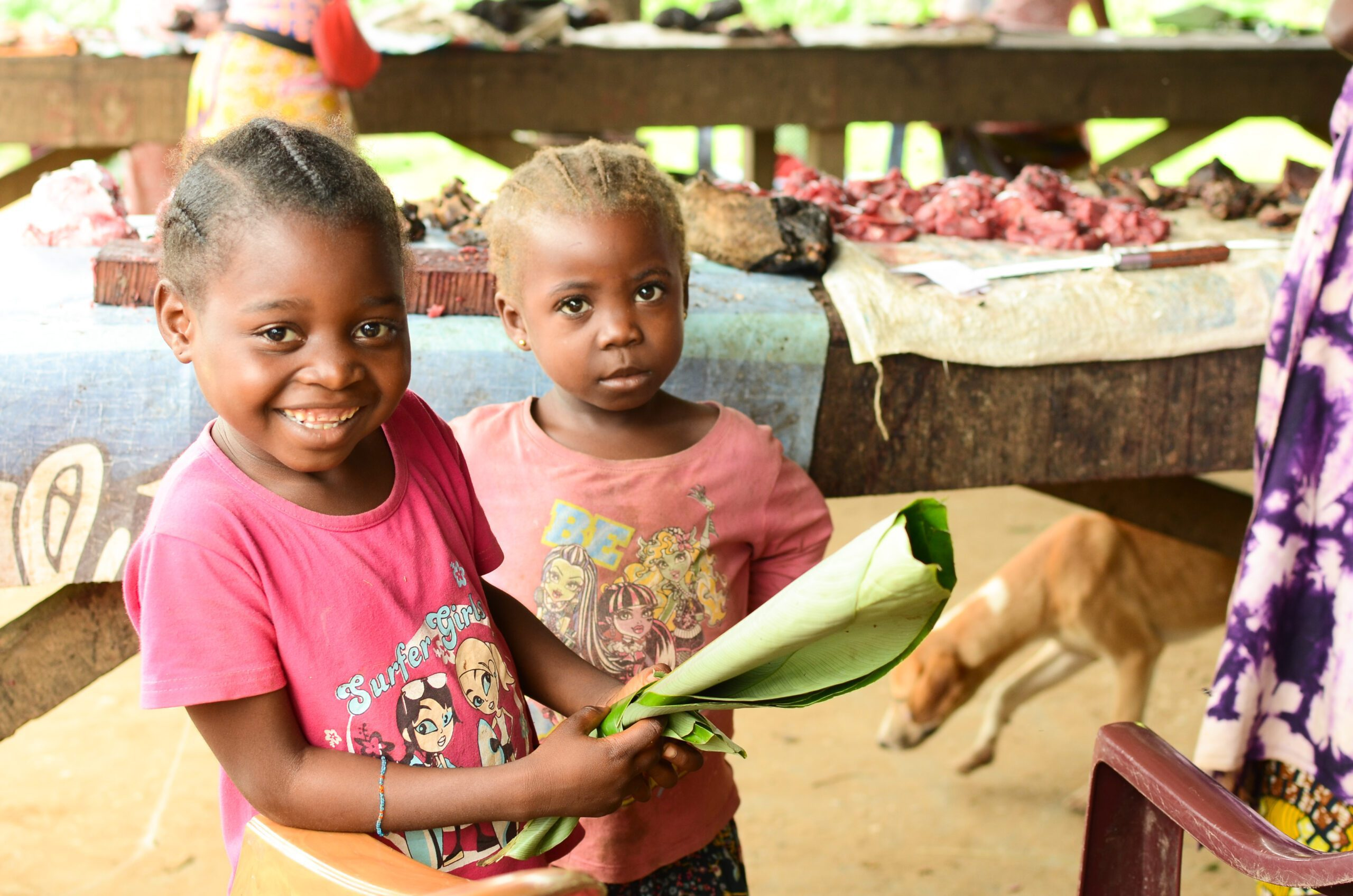 Children in Brazzaville market
