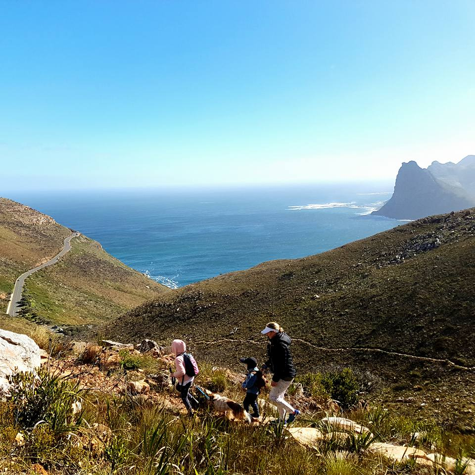 hikers on a path in the mountains of Cape Town