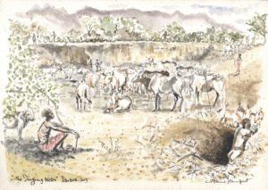 artist rendering of the Singing Wells, a man sitting in the shade of a tree while his cattle drink from the water hole