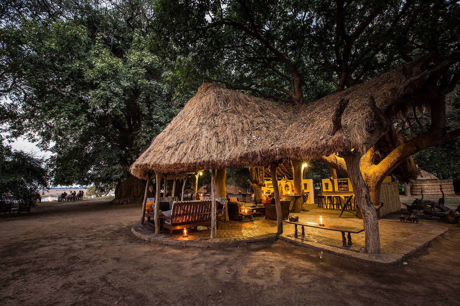 Main area of Tafika Camp on our Zambia on foot safari