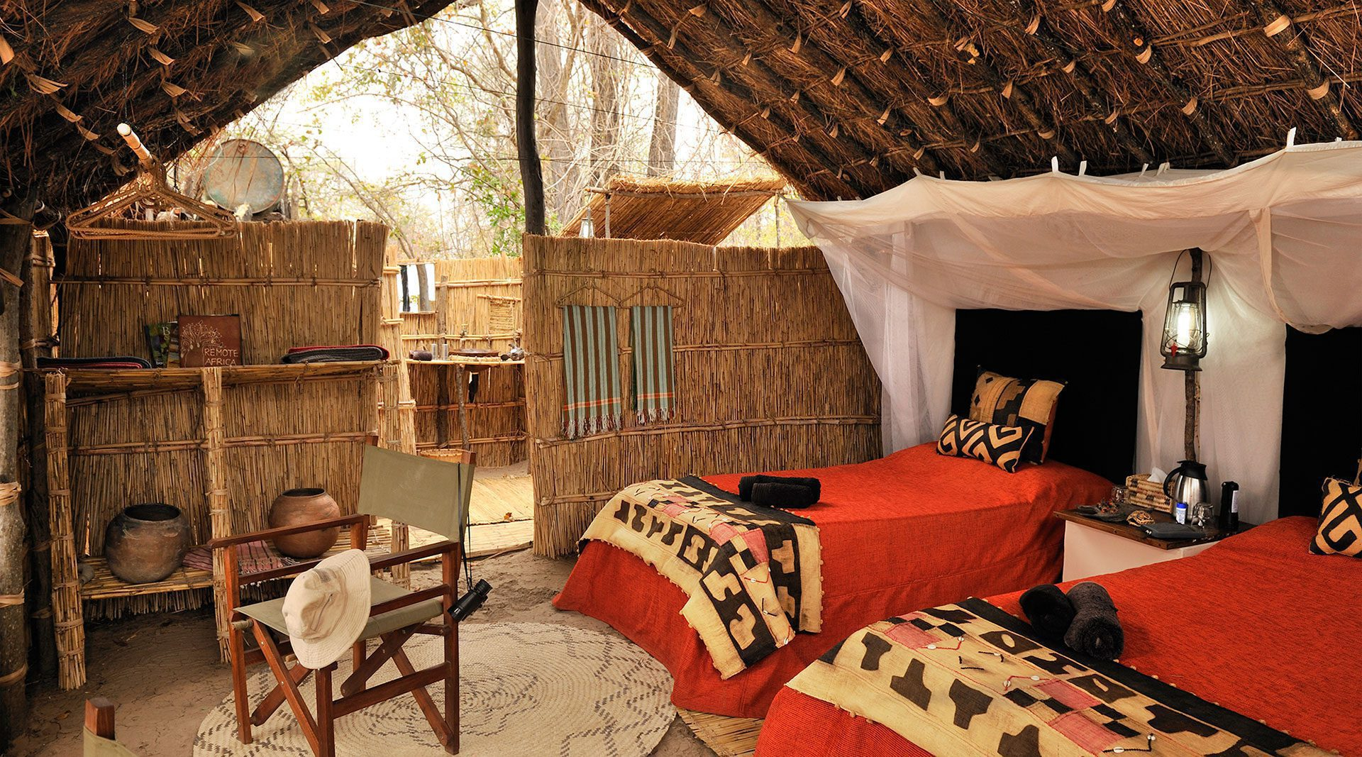 guest room in Mwaleshi Camp on remote Zambia safari
