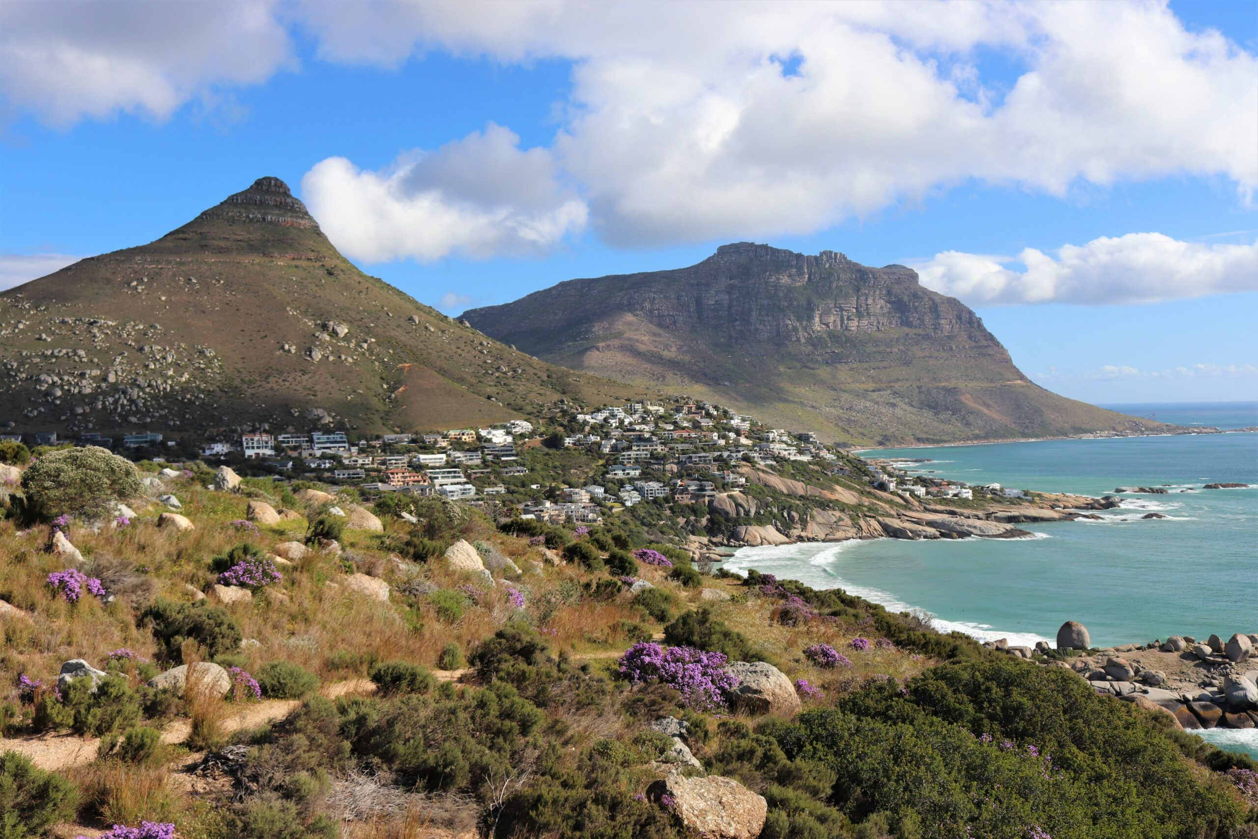beautiful sunny day in cape town taken from a scenic hike overlooking the mountains and water