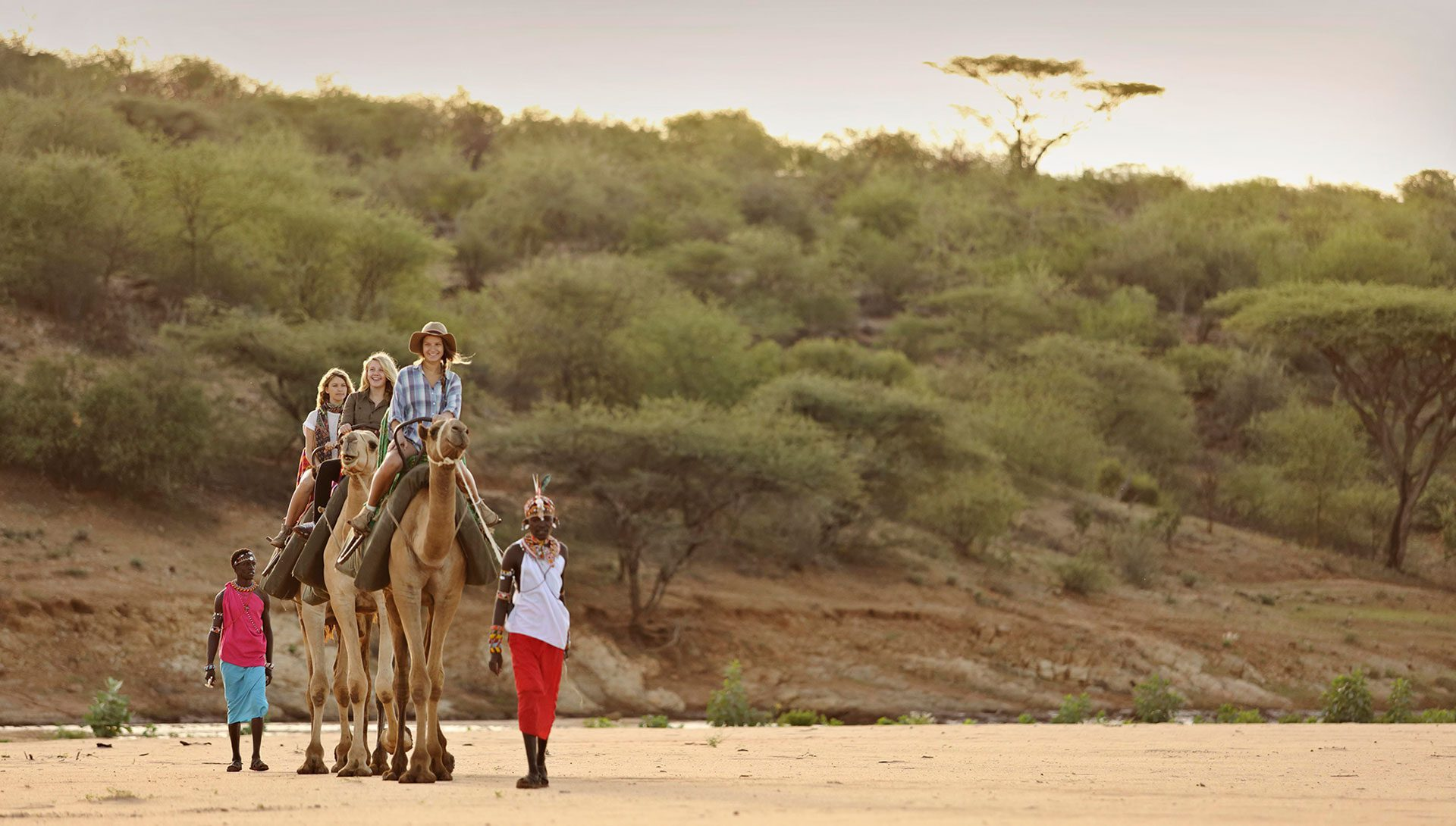 samburu male leads a family of three who are sitting on the backs of camels crossing a dry river bed