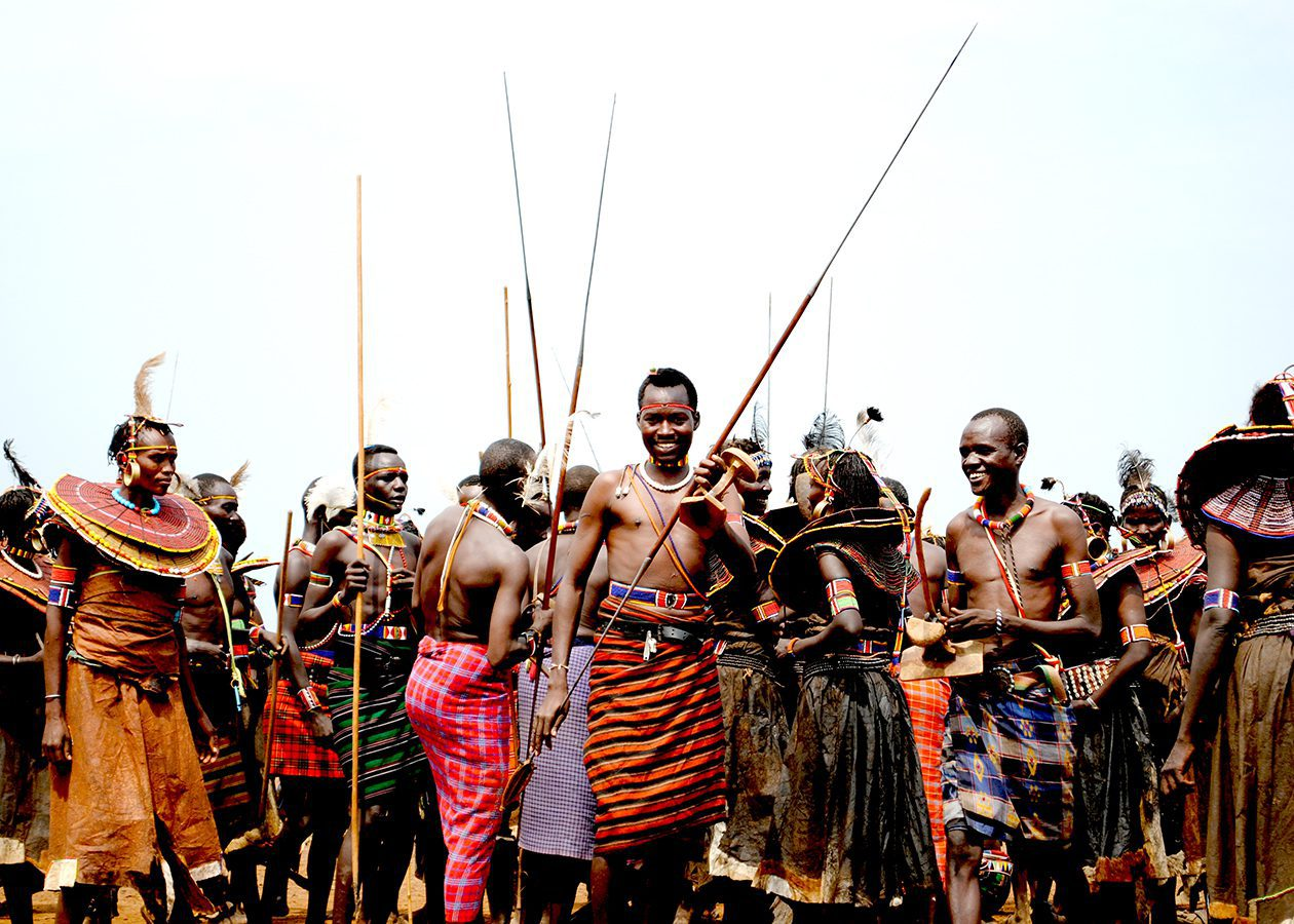 Pokot dressed in traditional clothes in kenya