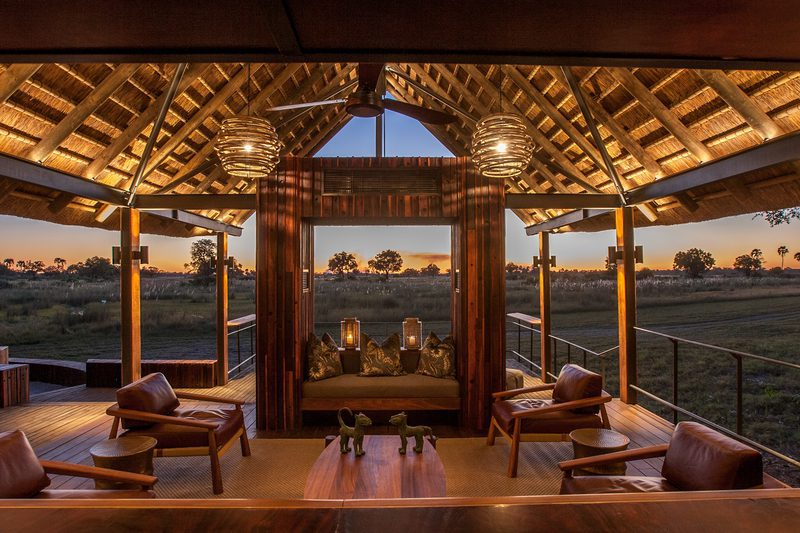 Chitabe Camp view from the bar onto the plains at sundown