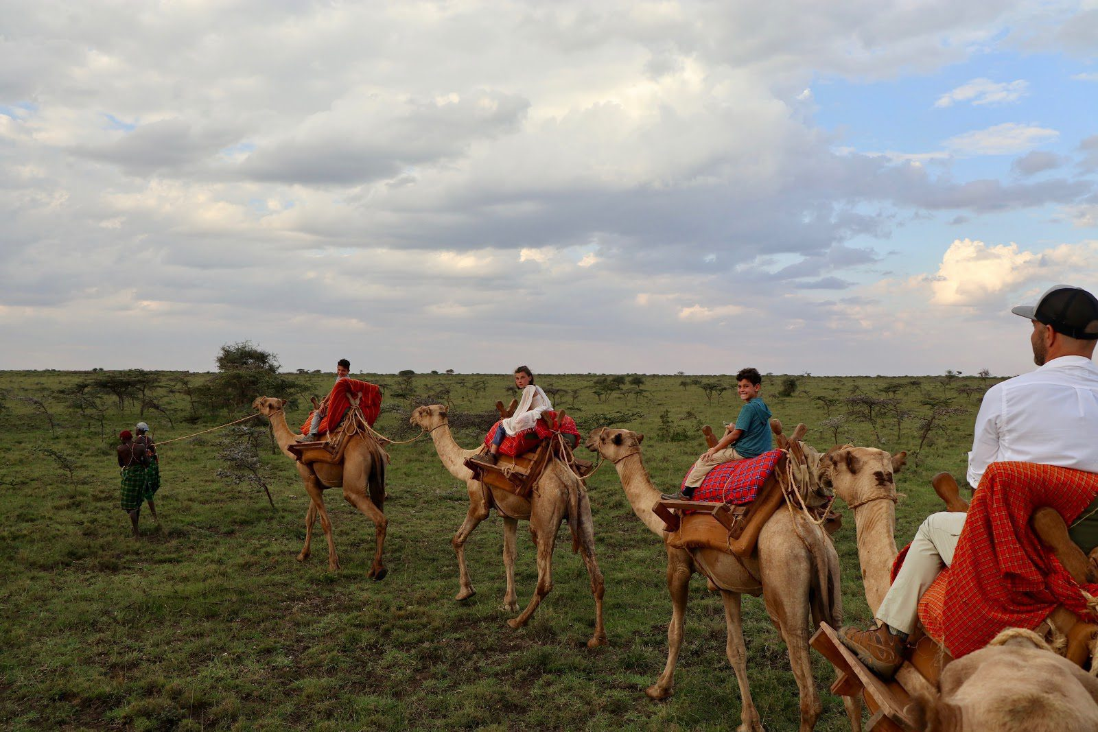 Mollie's family rides atop camels on safari, following the lead of their guide