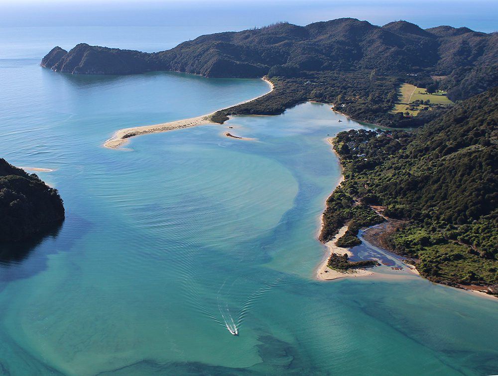 coastline of Abel Tasman seen from helicopter