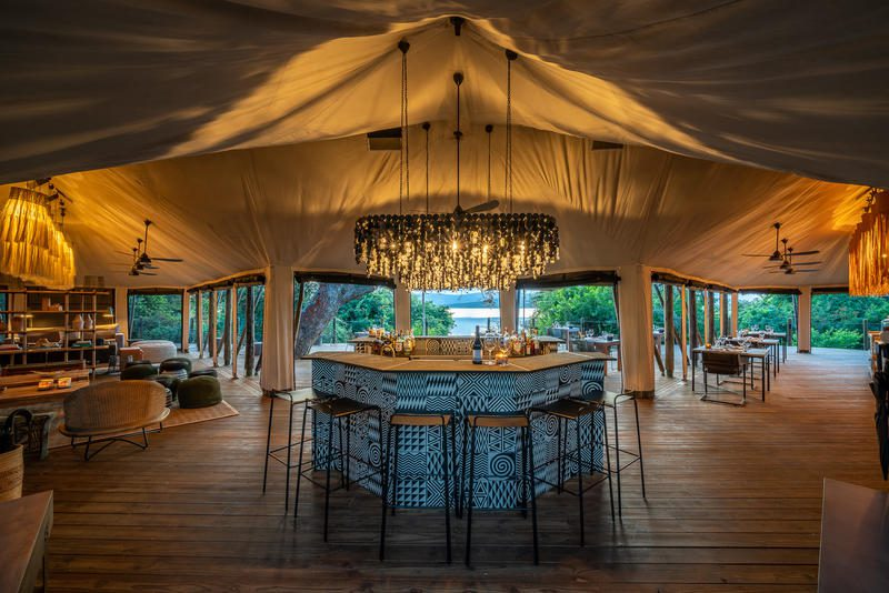 interior of the main tent at Magashi on the best Rwanda safari