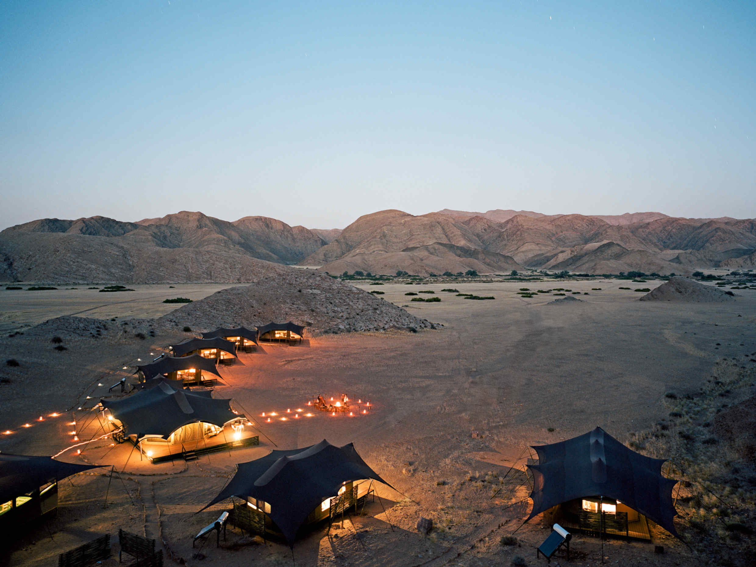 Hoanib Valley Camp Namibia Aerial View of Camp on this Southern Africa safari
