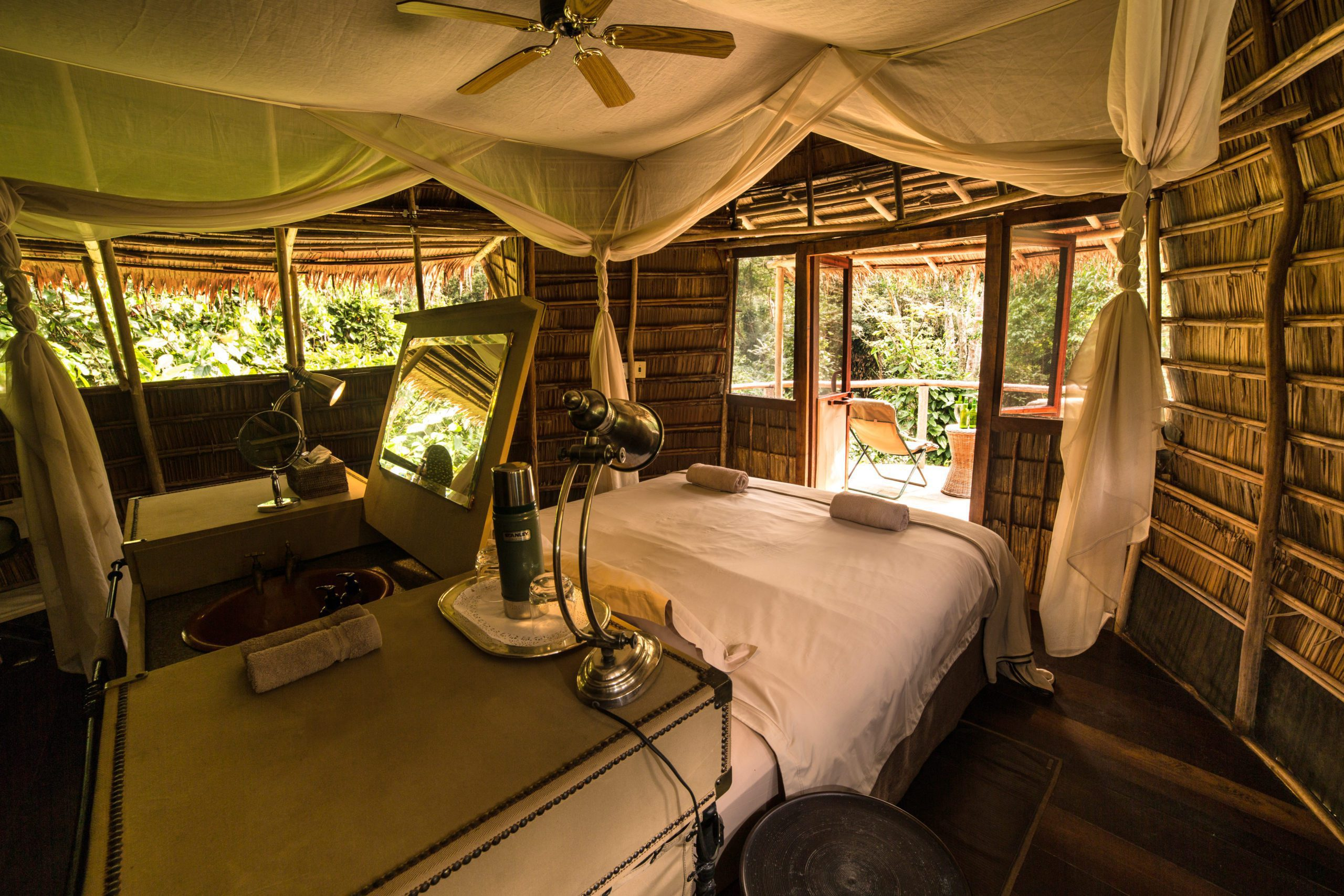 Congo Basin safari Ngaga Camp interior view of room