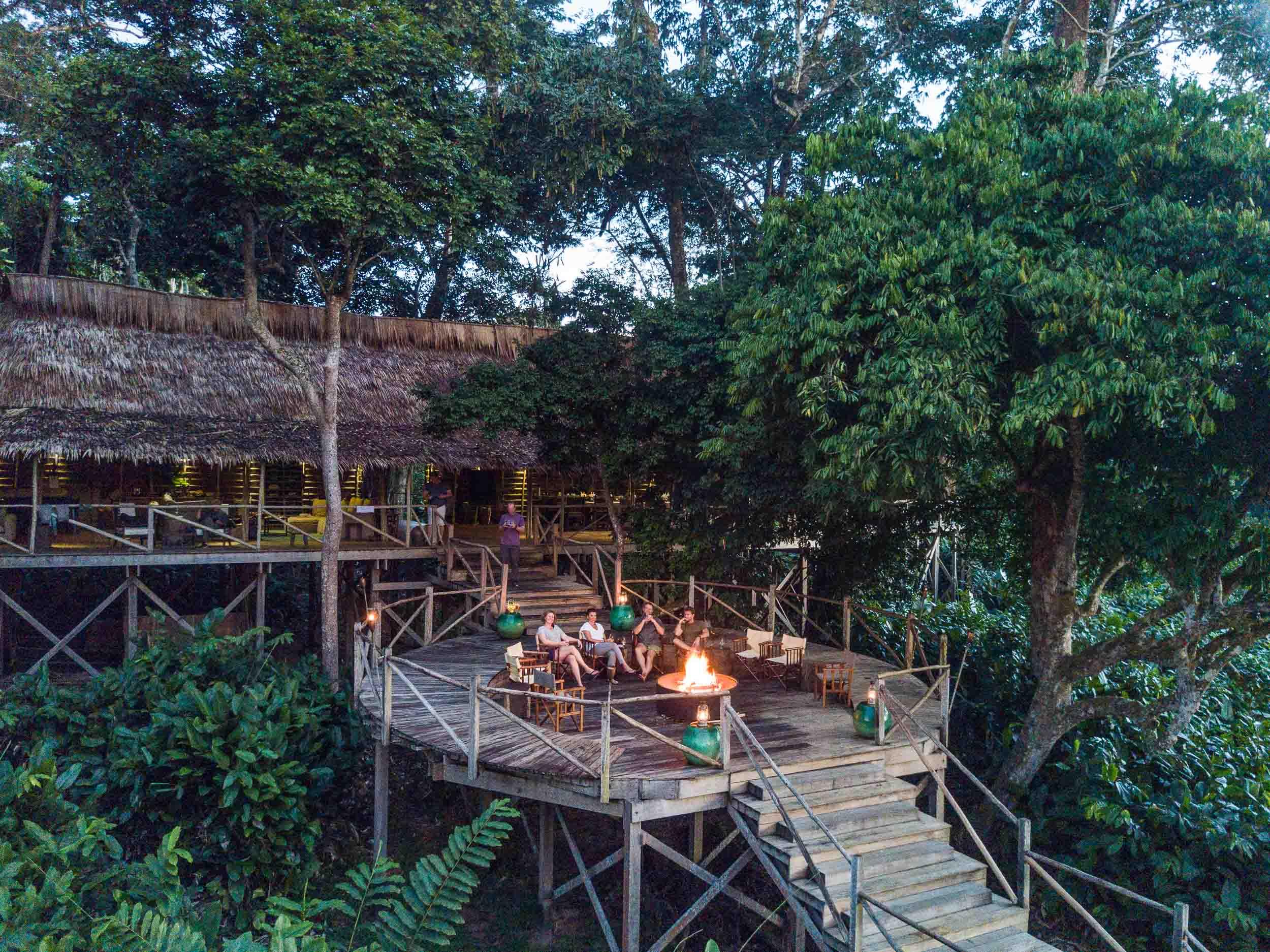 Odzala National Park - Republic of Congo Ngaga Camp view of the main deck