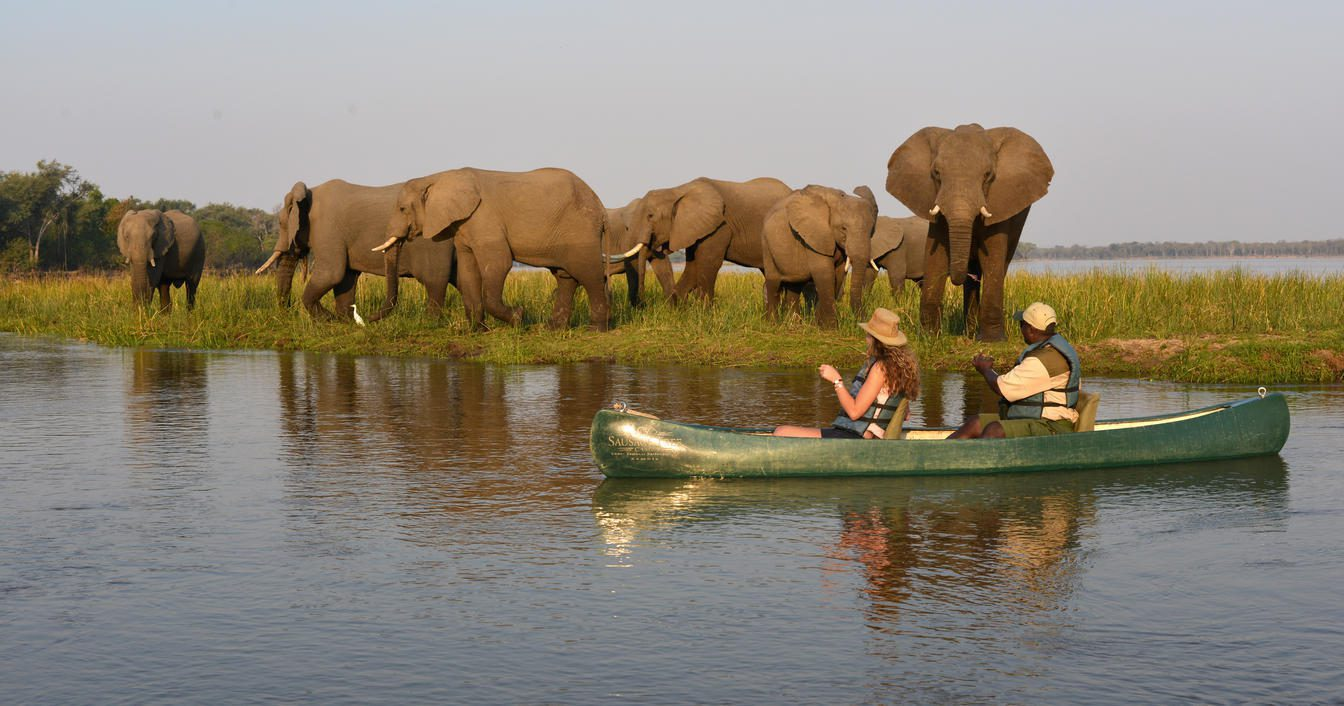boat on the river with elephants in the background on Rwanda safari