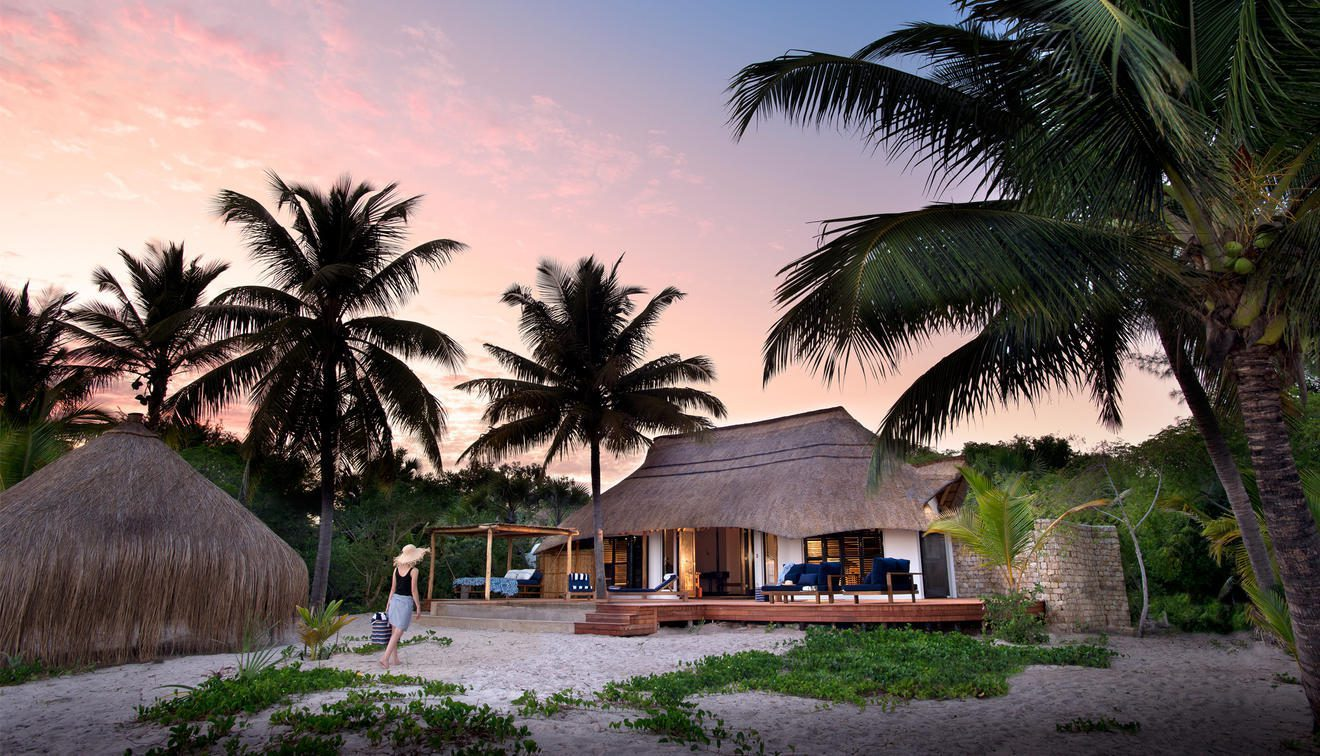 palm trees over a hut with sunset