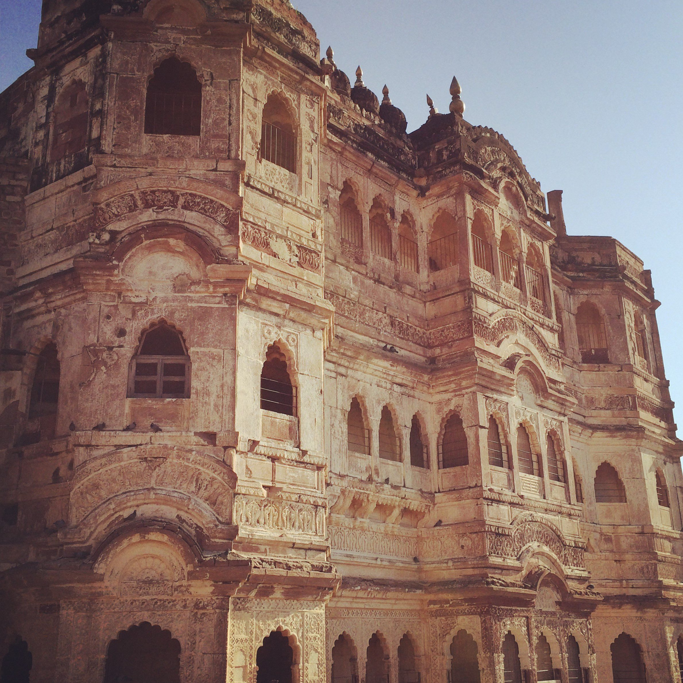 closeup of the architectural details on one side of Mehrangarh Fort