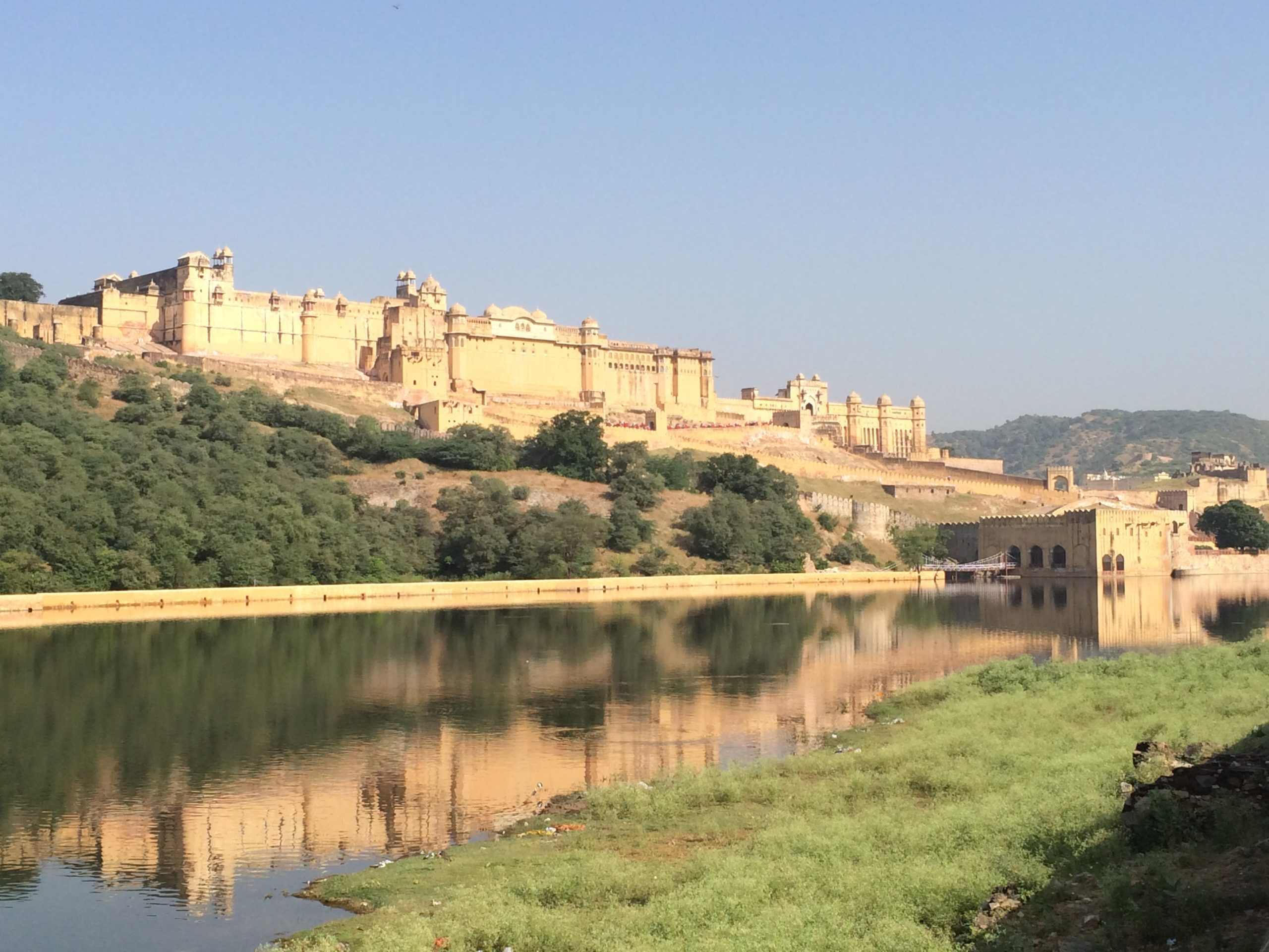 Amber Fort seen from a distance over some grass and a river.