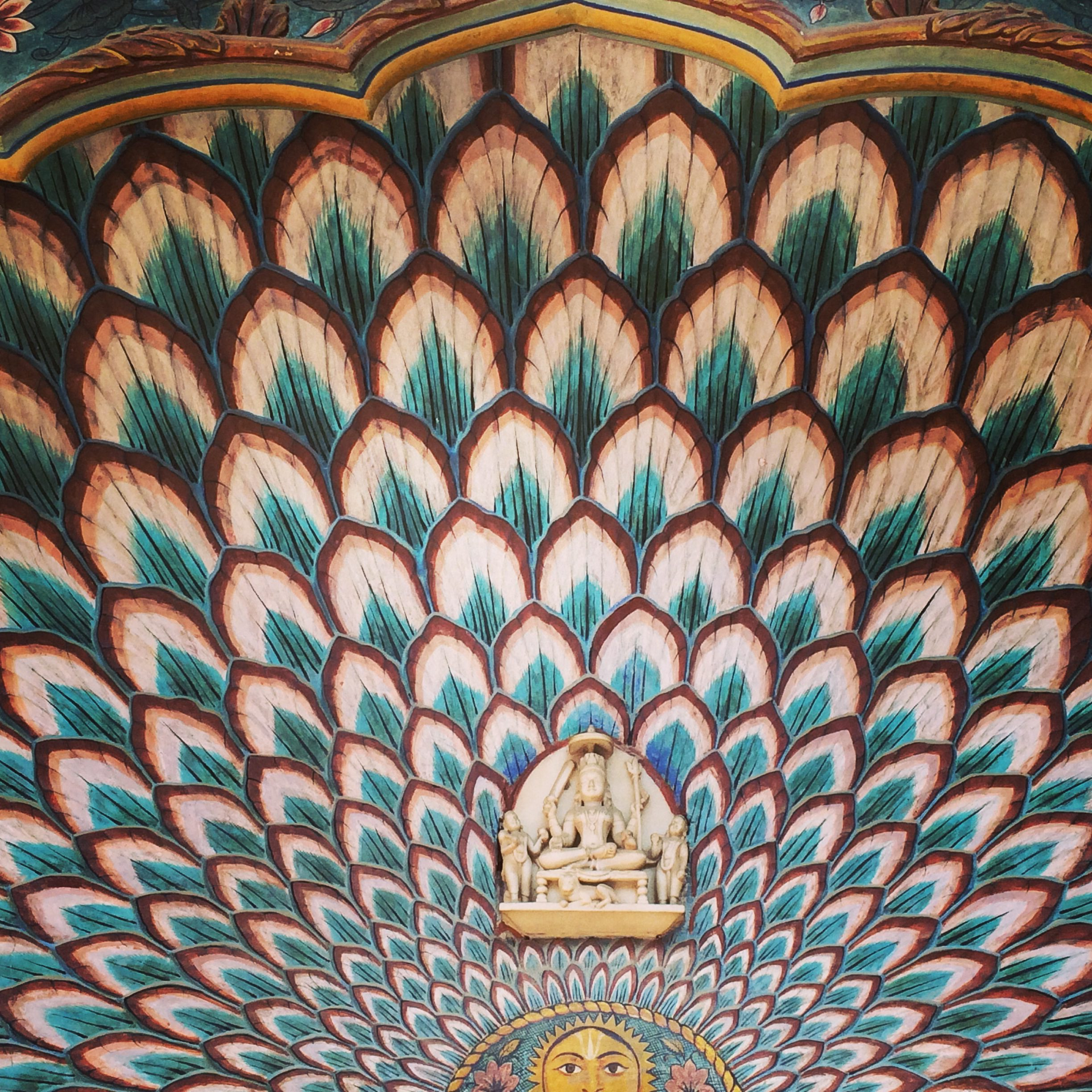 detail of a painted alcove at the City Palace in Jaipur