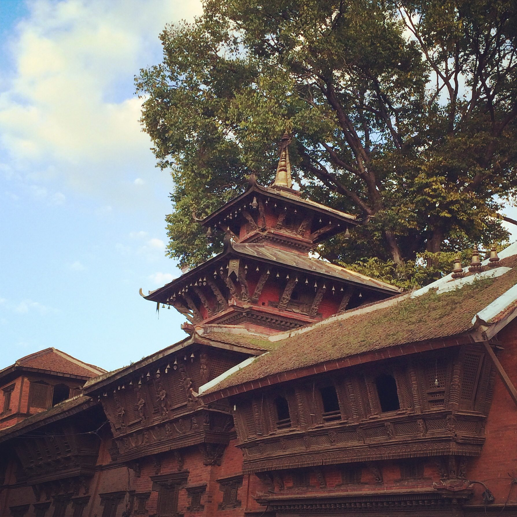 ancient wood and brick temple with a large tree above in Kathmandu