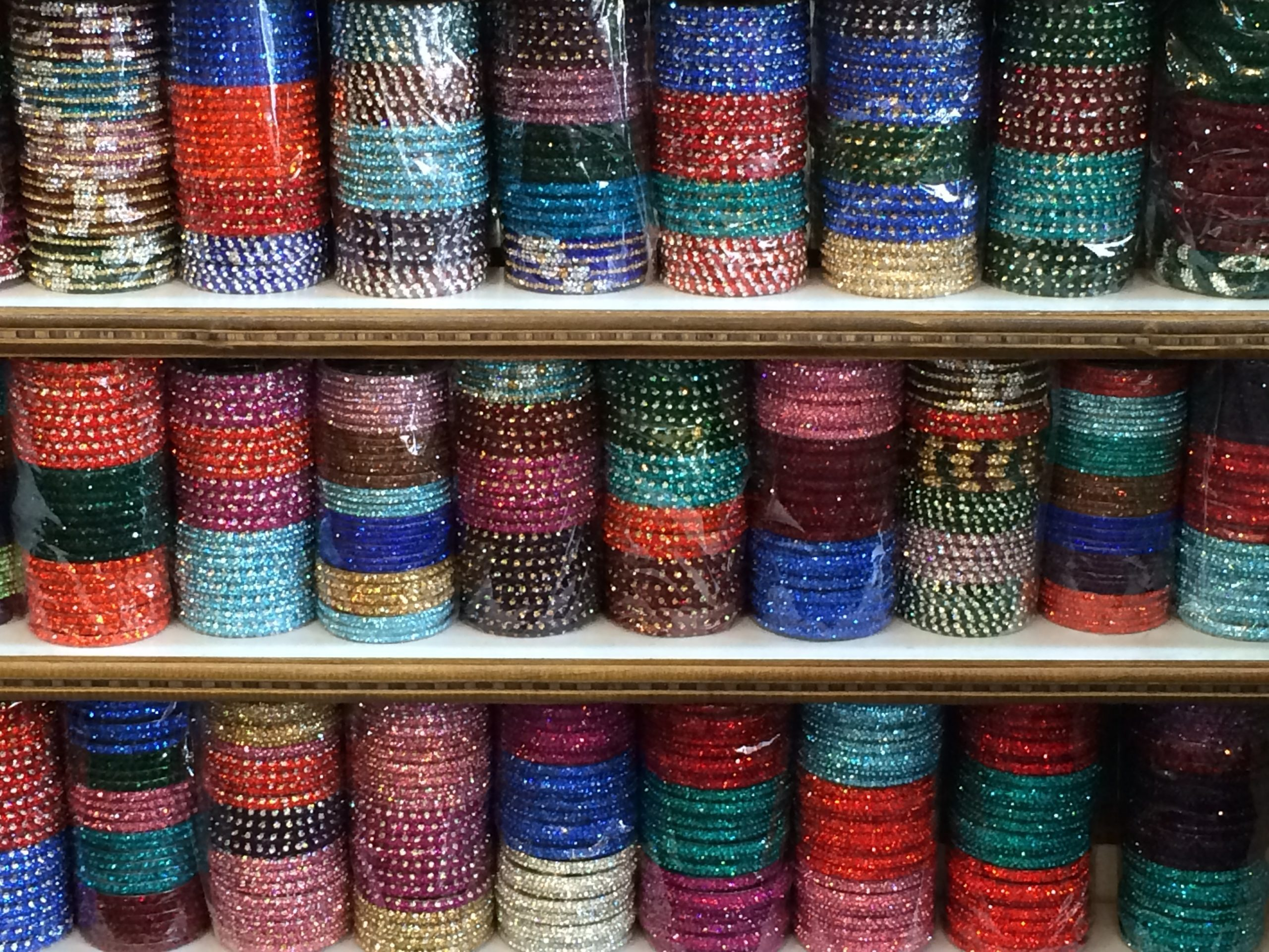 shelves of brightly colored bangles