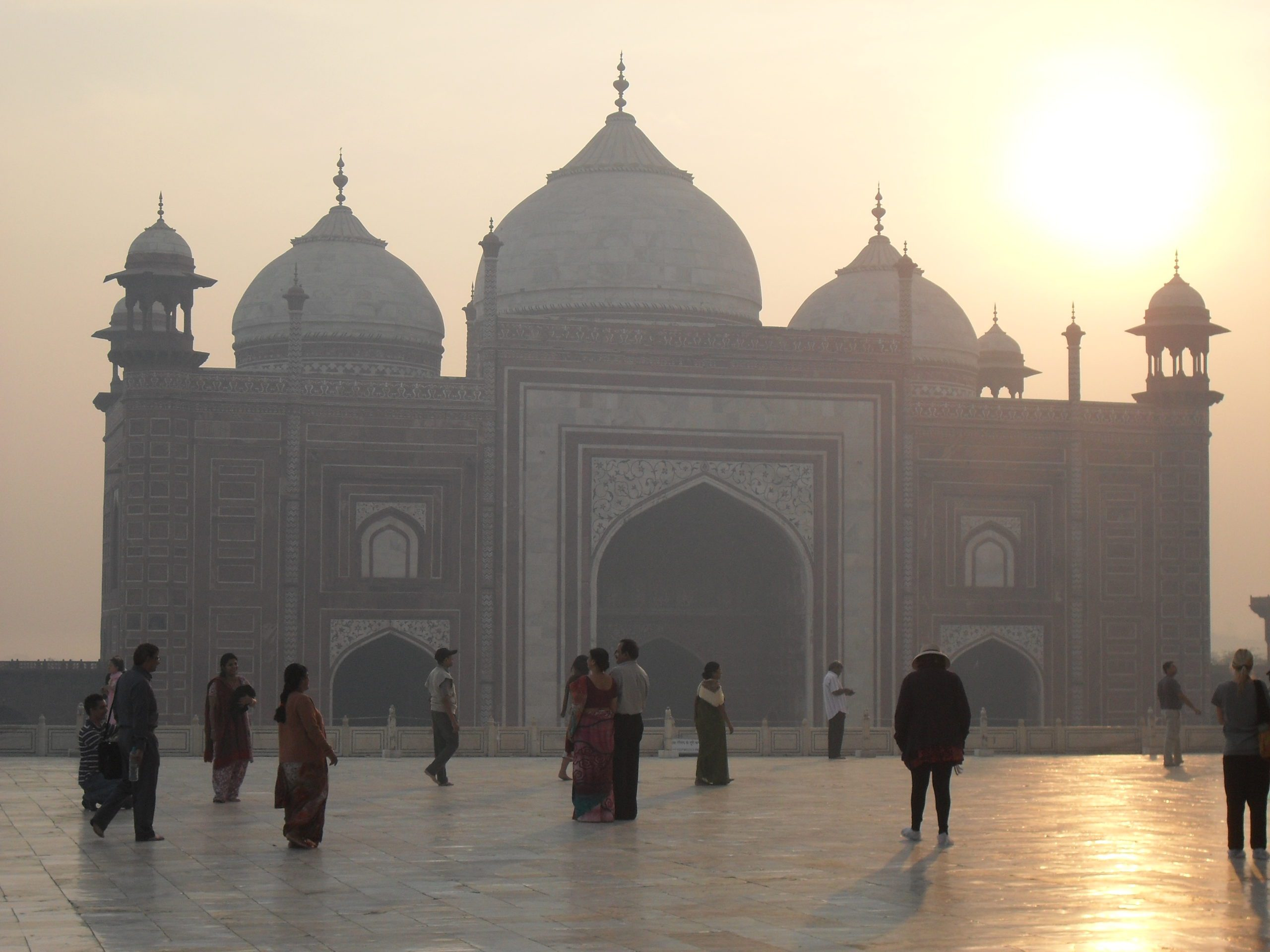 entry to the Taj Mahal as dawn breaks