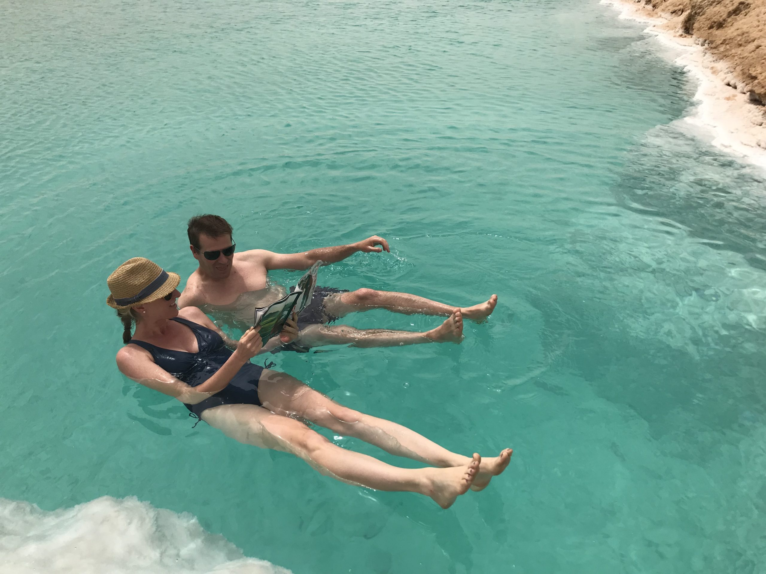 Jenny and Jay floating in Siwa waters