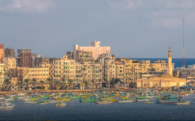City of Alexandria on the water with fishing boats