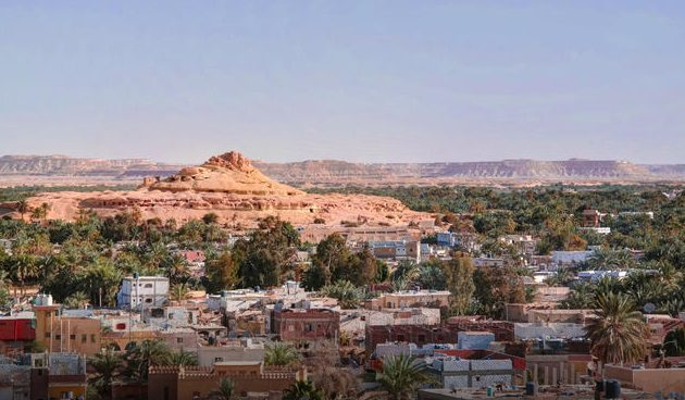 Siwa town and mountains in early evening