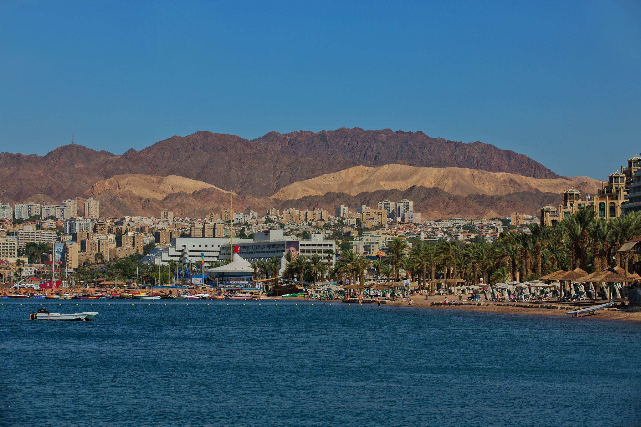 Eilat resort area on Red Sea