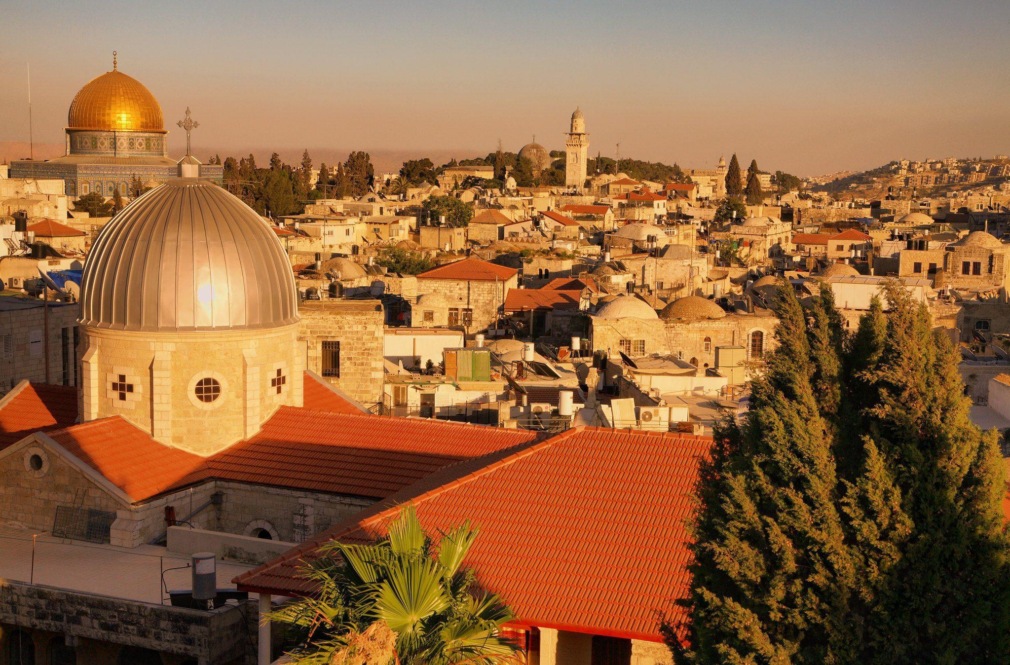 View over Jerusalem at sunset