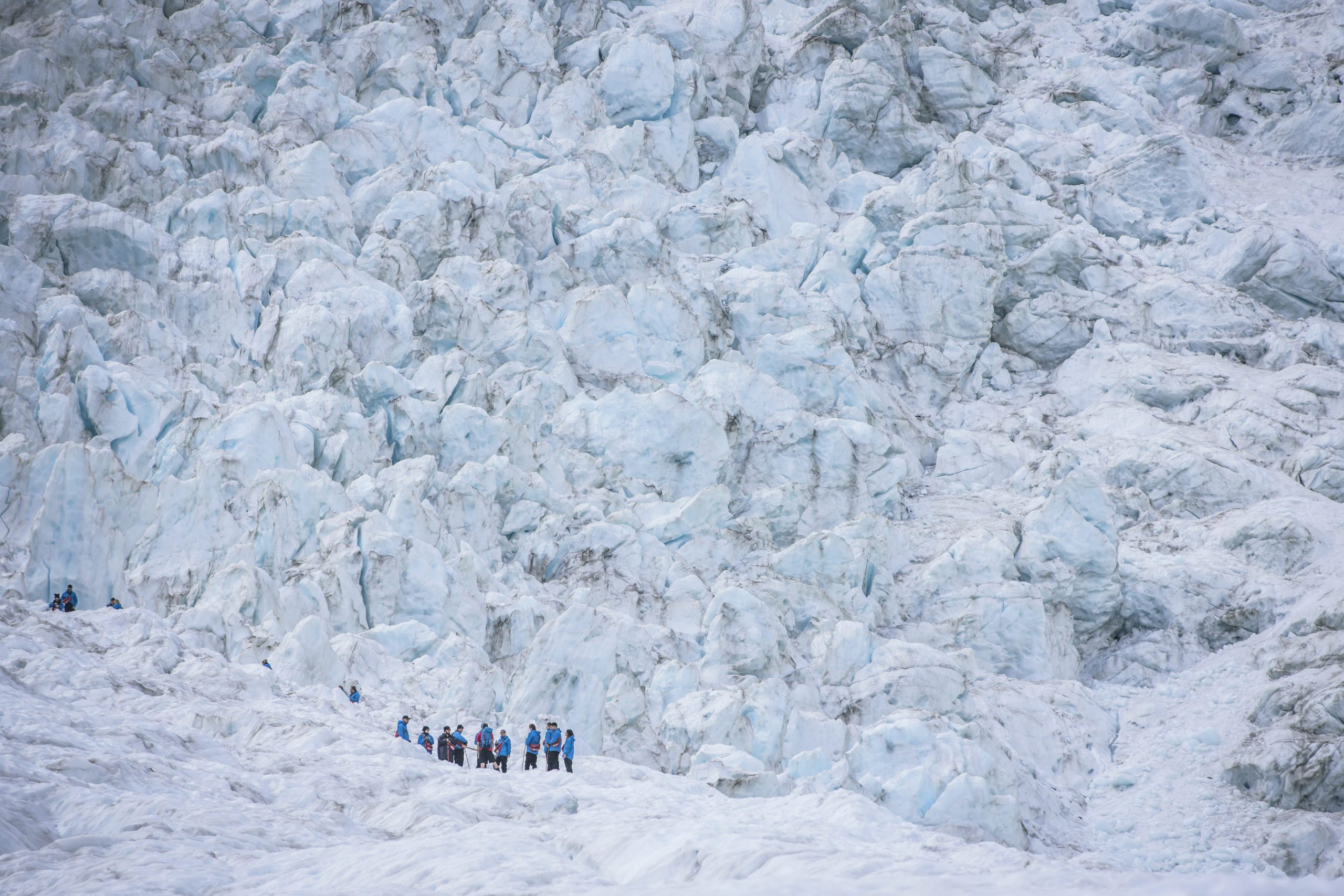 A group of heli-hikers walk in a line on Franz Josef glacier, looking tiny in comparison