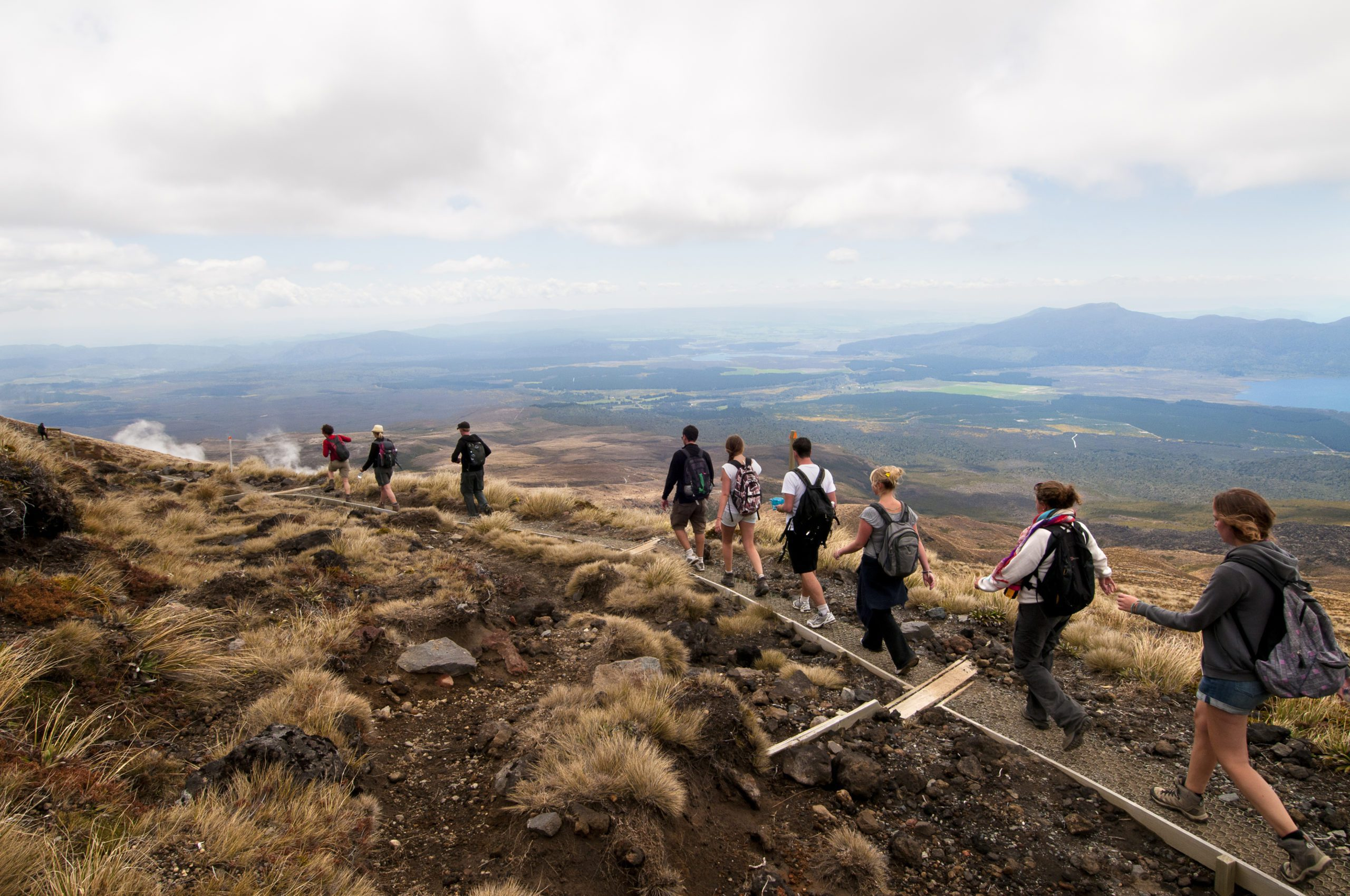 small group of hikers along the Tongariro Alpine Crossing