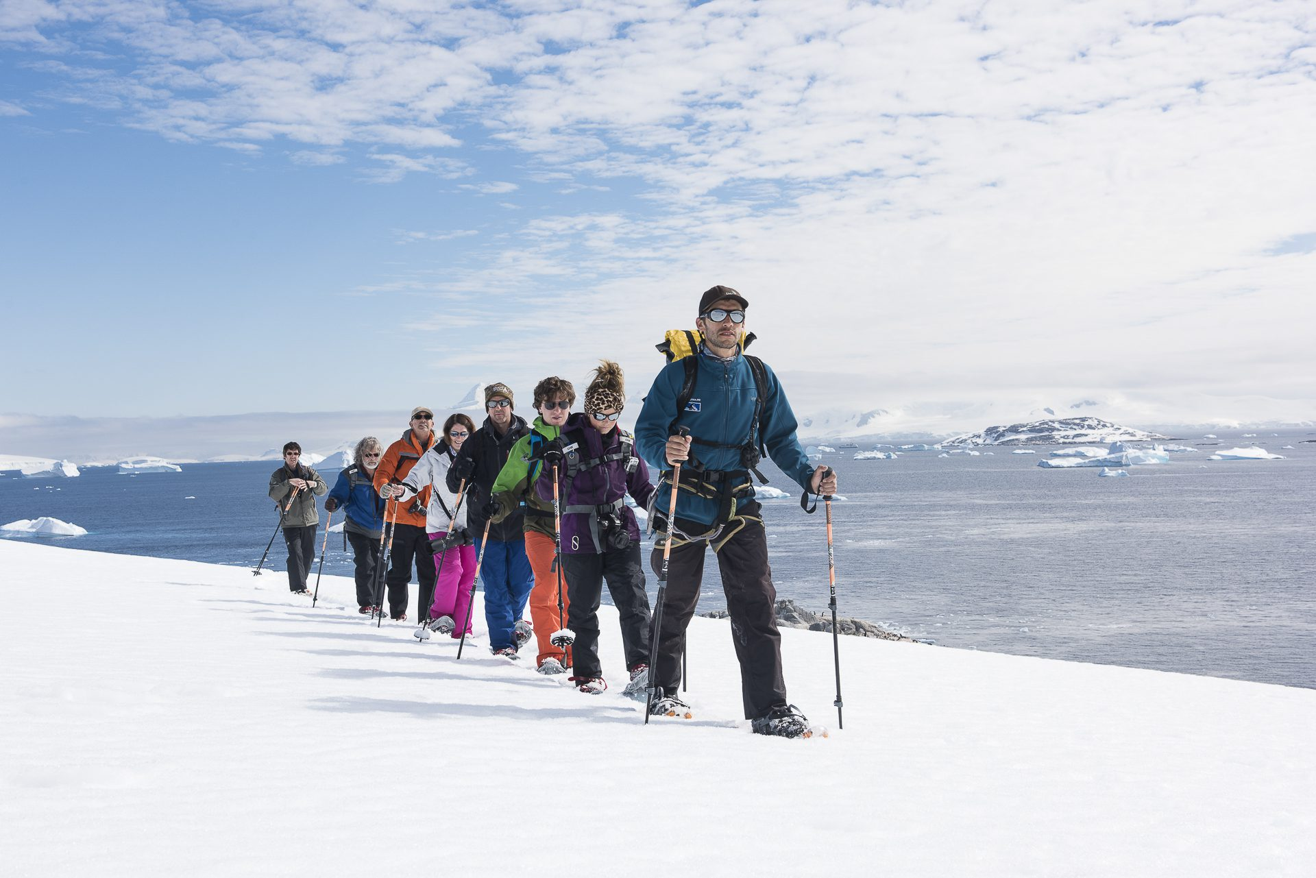 Guided walking trek on snow part of antarctica cruise itinerary
