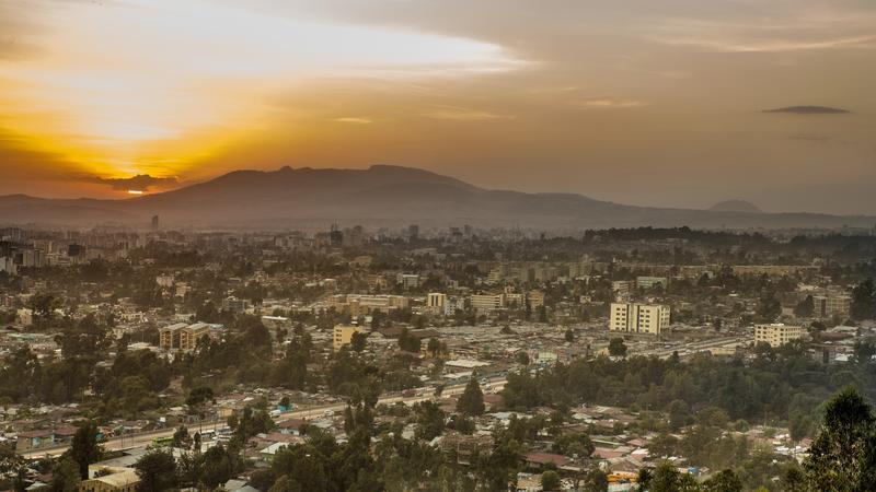 view from yuka hill at sunrise overlooking addis ababa