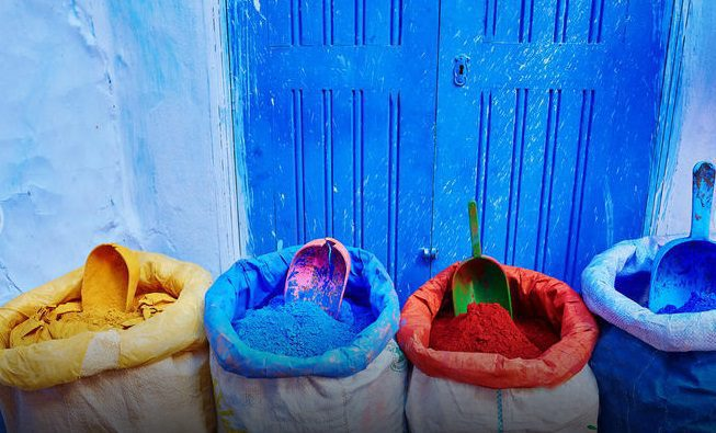 Powdered dyes on the blue wash street of Chefchaouen