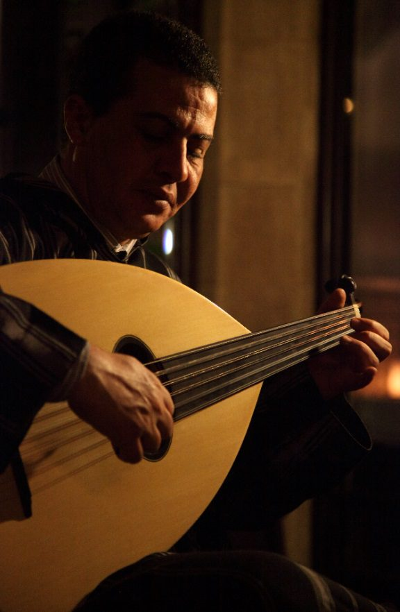 Musician playing guitar in Esssaouira