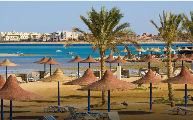 seaside resort town and beach of Hurghada