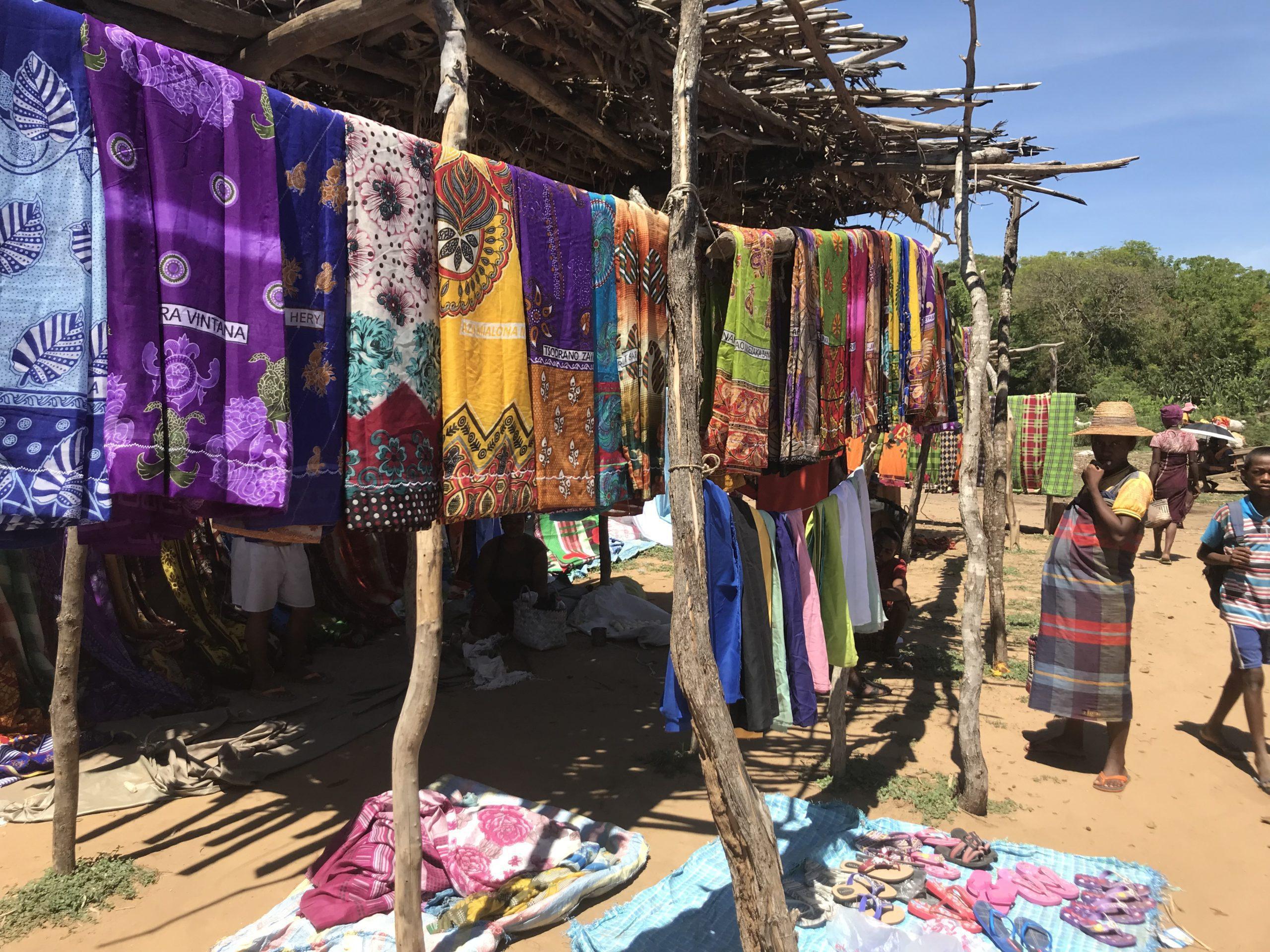 Colorful fabrics at market in Mandrare Village