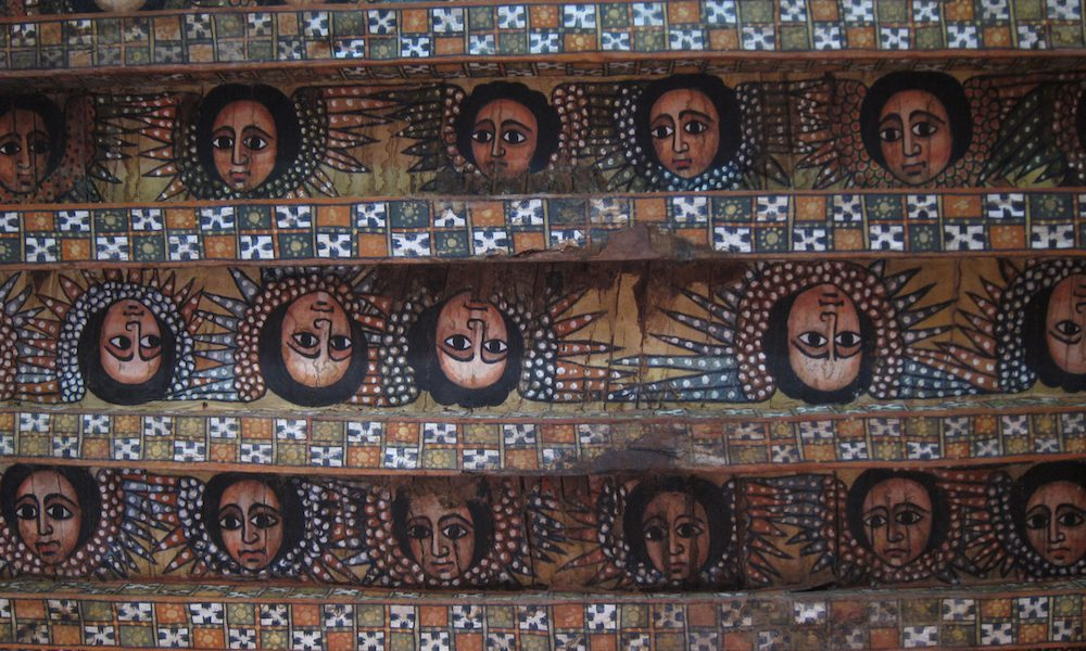 rock church paintings on the ceiling of a church in Ethiopia