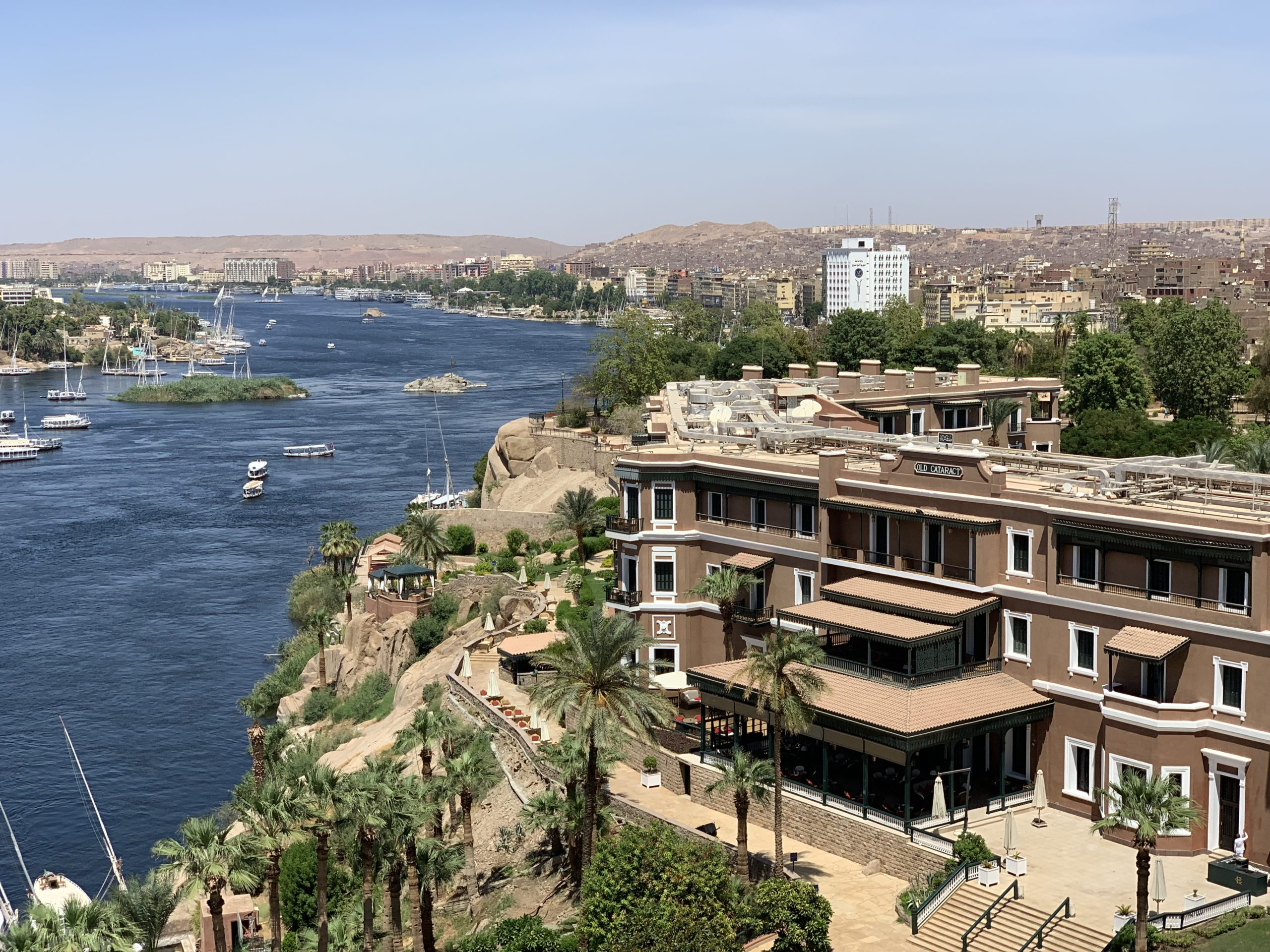 Aswan city and river view with Old Cataract Hotel