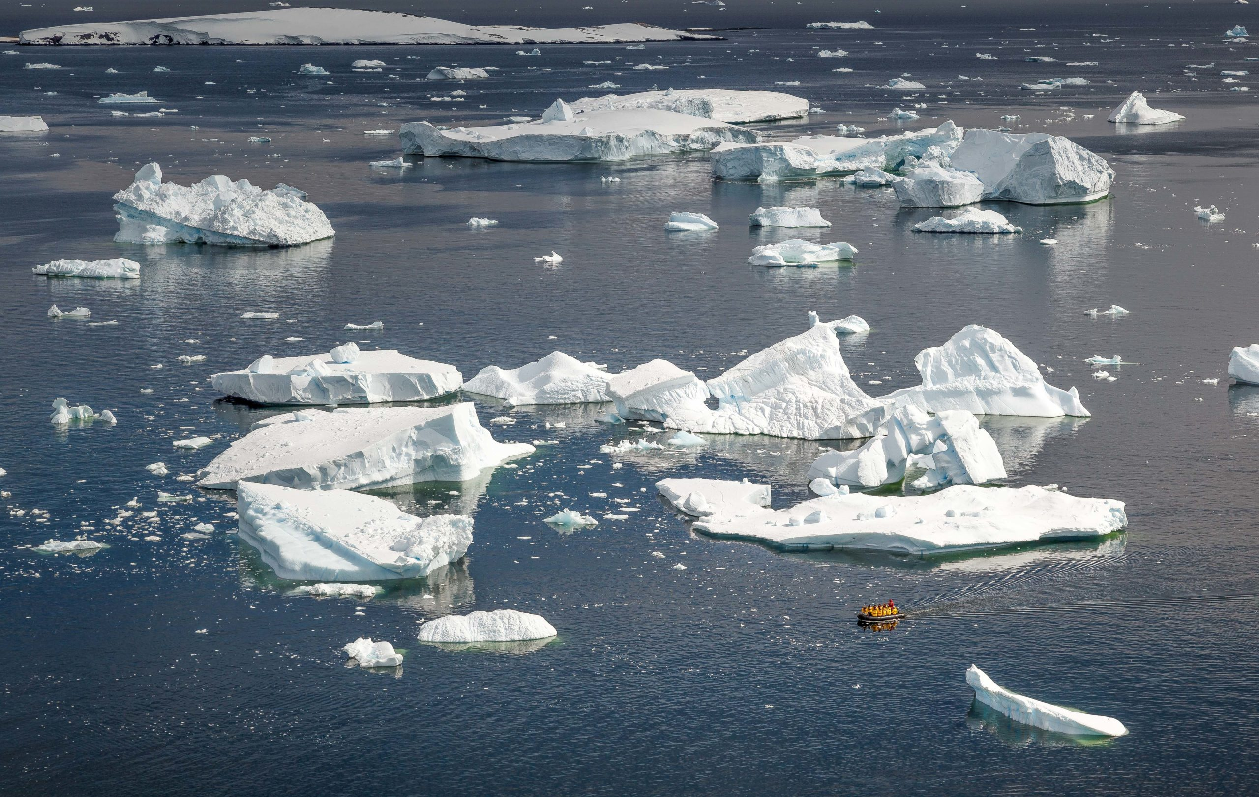 zodiac boat dwarfed by the size of the icebergs floating in the Antarctic waters