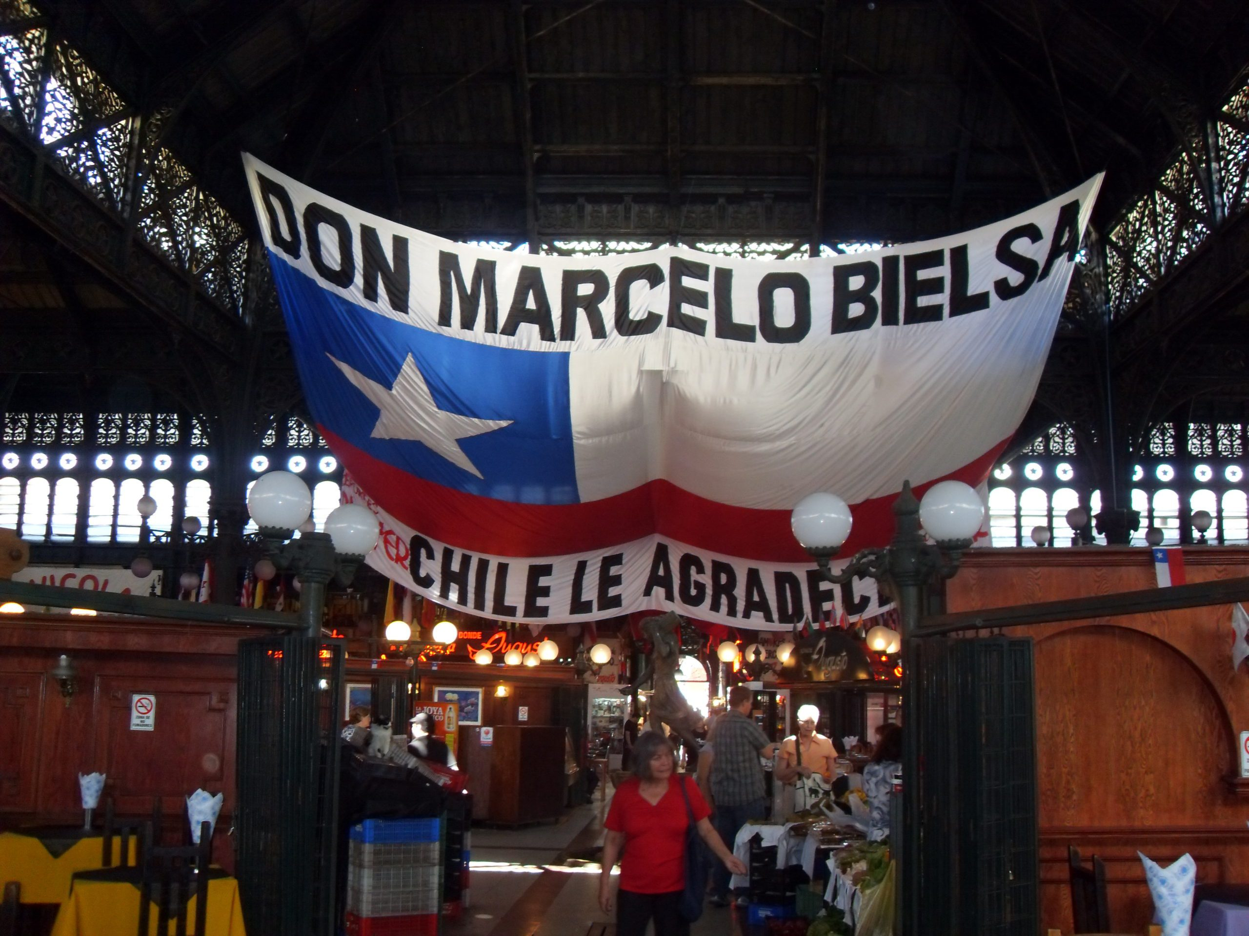 large chilean flag inside the Mercado Central in Santiago
